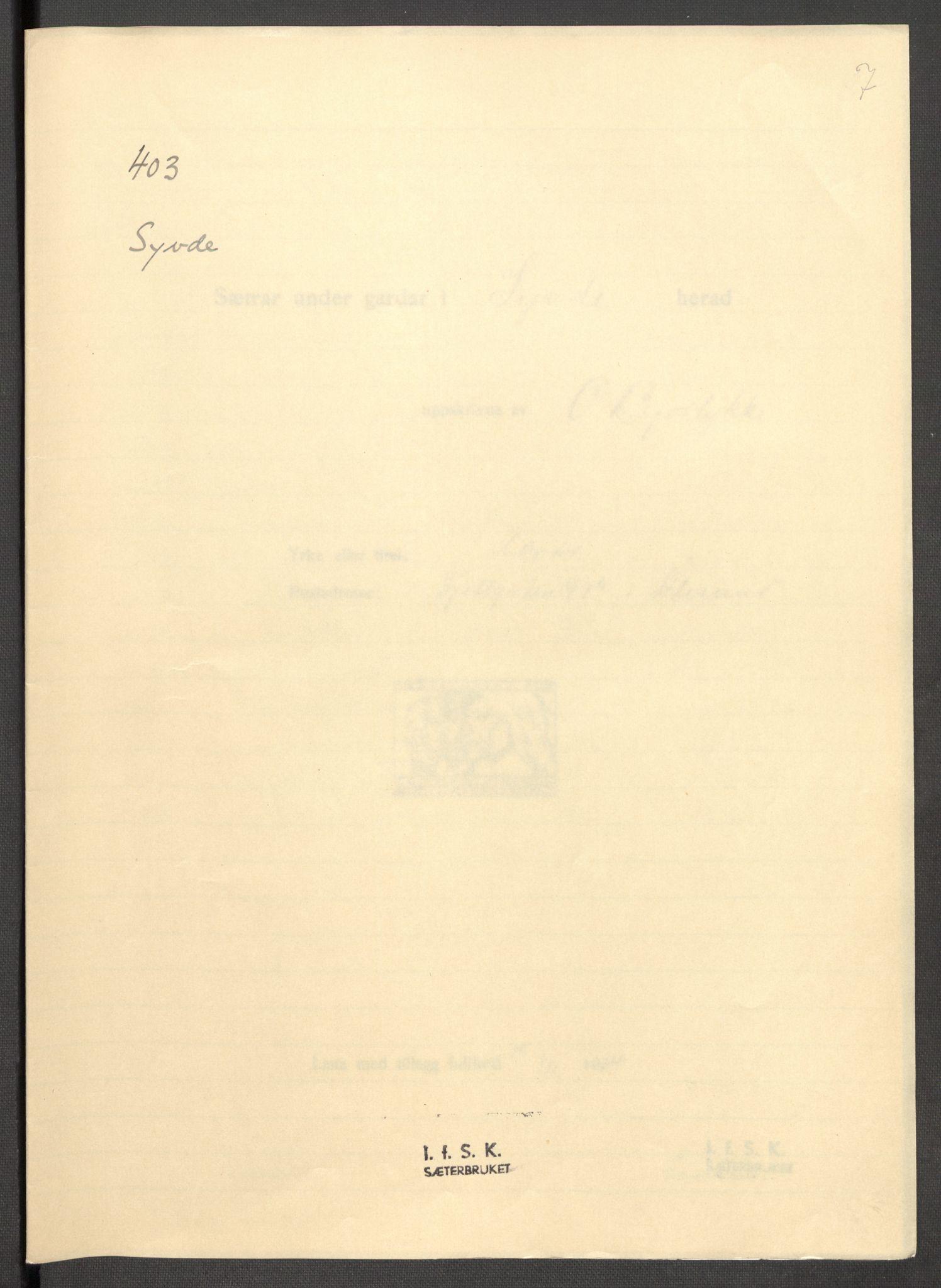 RA, Instituttet for sammenlignende kulturforskning, F/Fc/L0012: Eske B12:, 1934-1936, s. 7