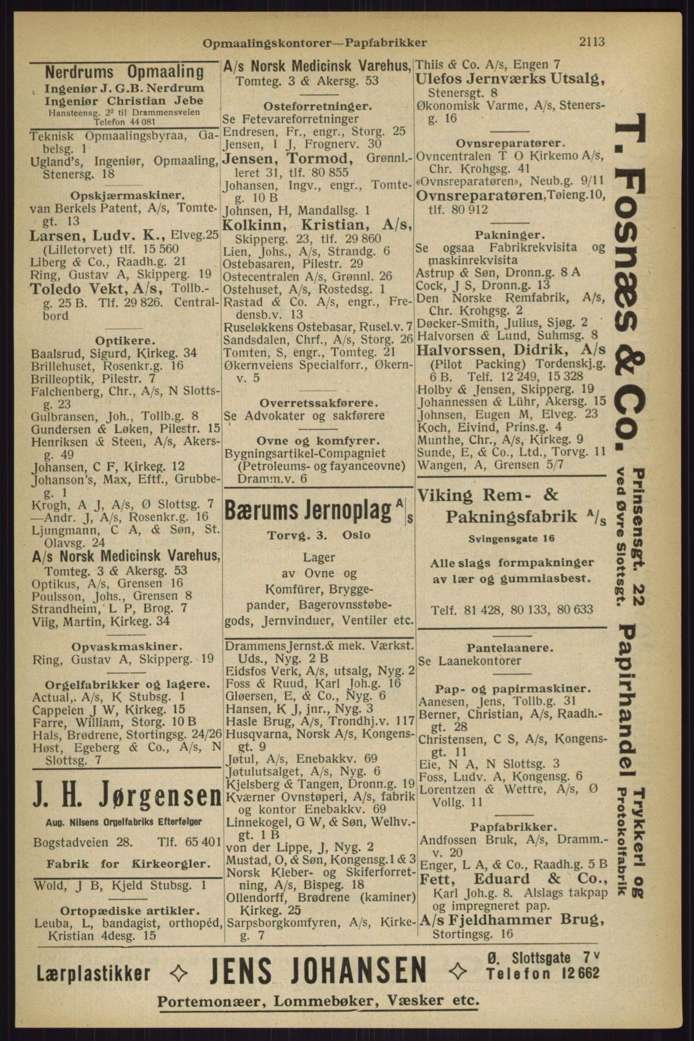 RA, Oslo adressebok (publikasjon)*, 1927, s. 2113