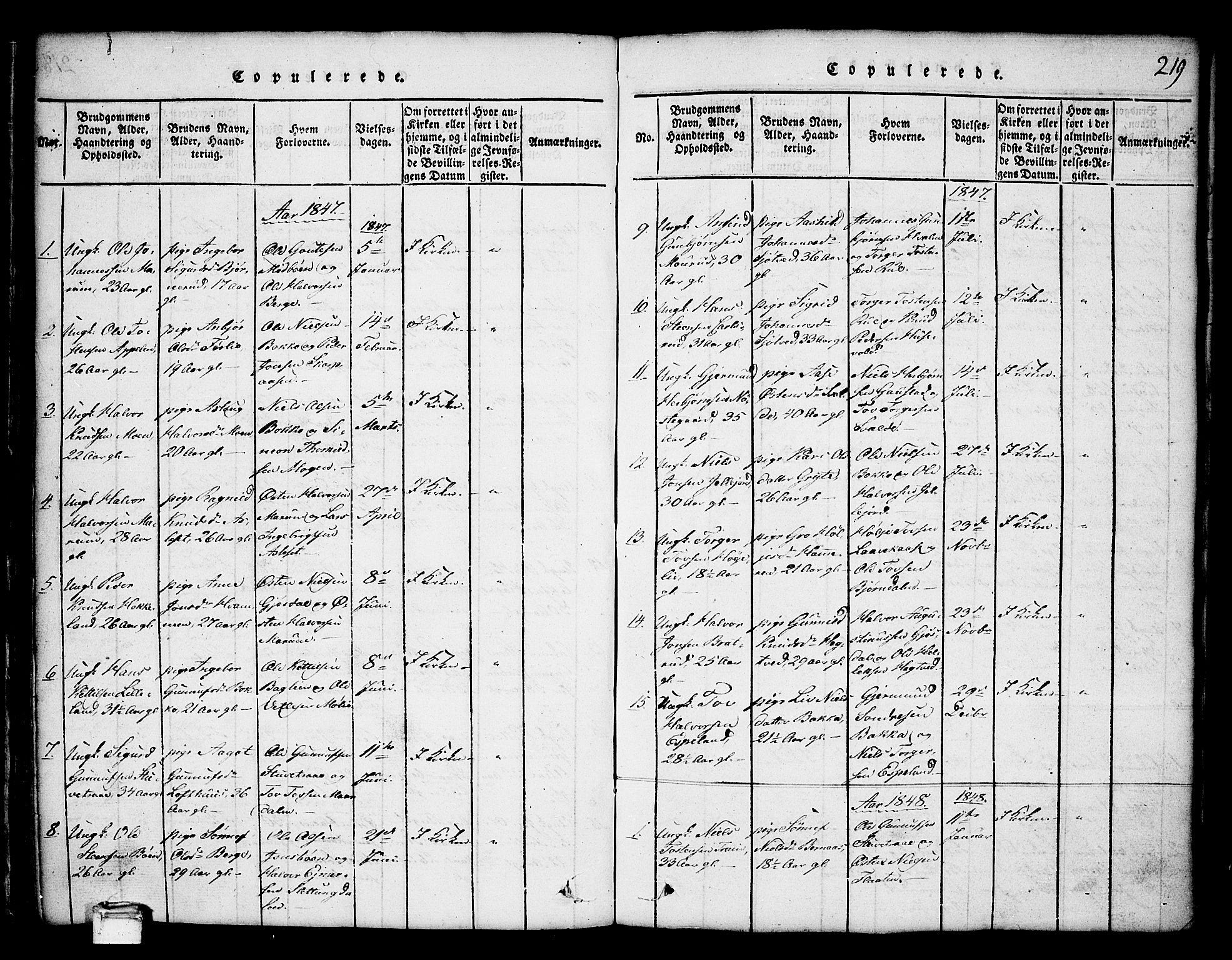 SAKO, Tinn kirkebøker, G/Ga/L0001: Klokkerbok nr. I 1, 1815-1850, s. 219
