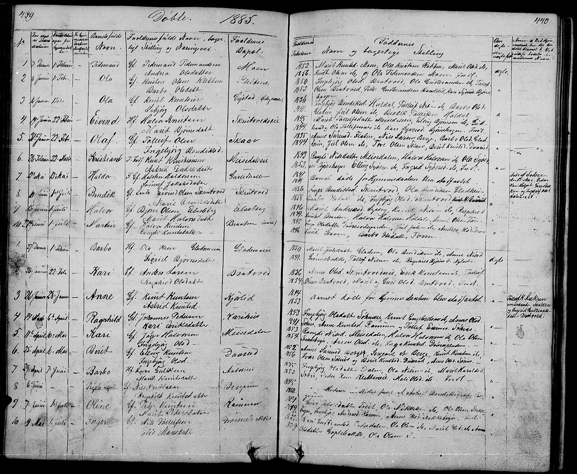 SAH, Nord-Aurdal prestekontor, Klokkerbok nr. 1, 1834-1887, s. 439-440
