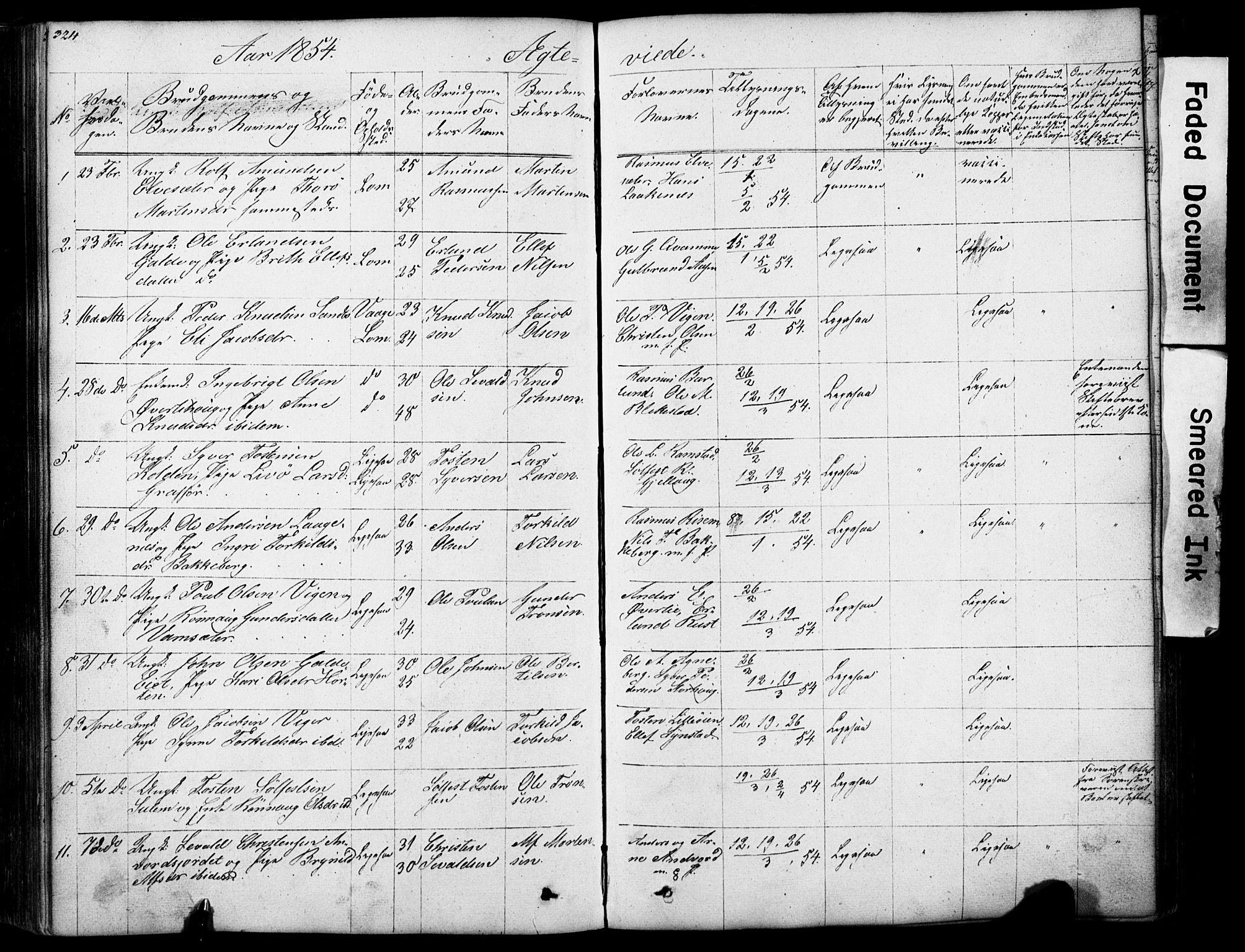 SAH, Lom prestekontor, L/L0012: Klokkerbok nr. 12, 1845-1873, s. 324-325