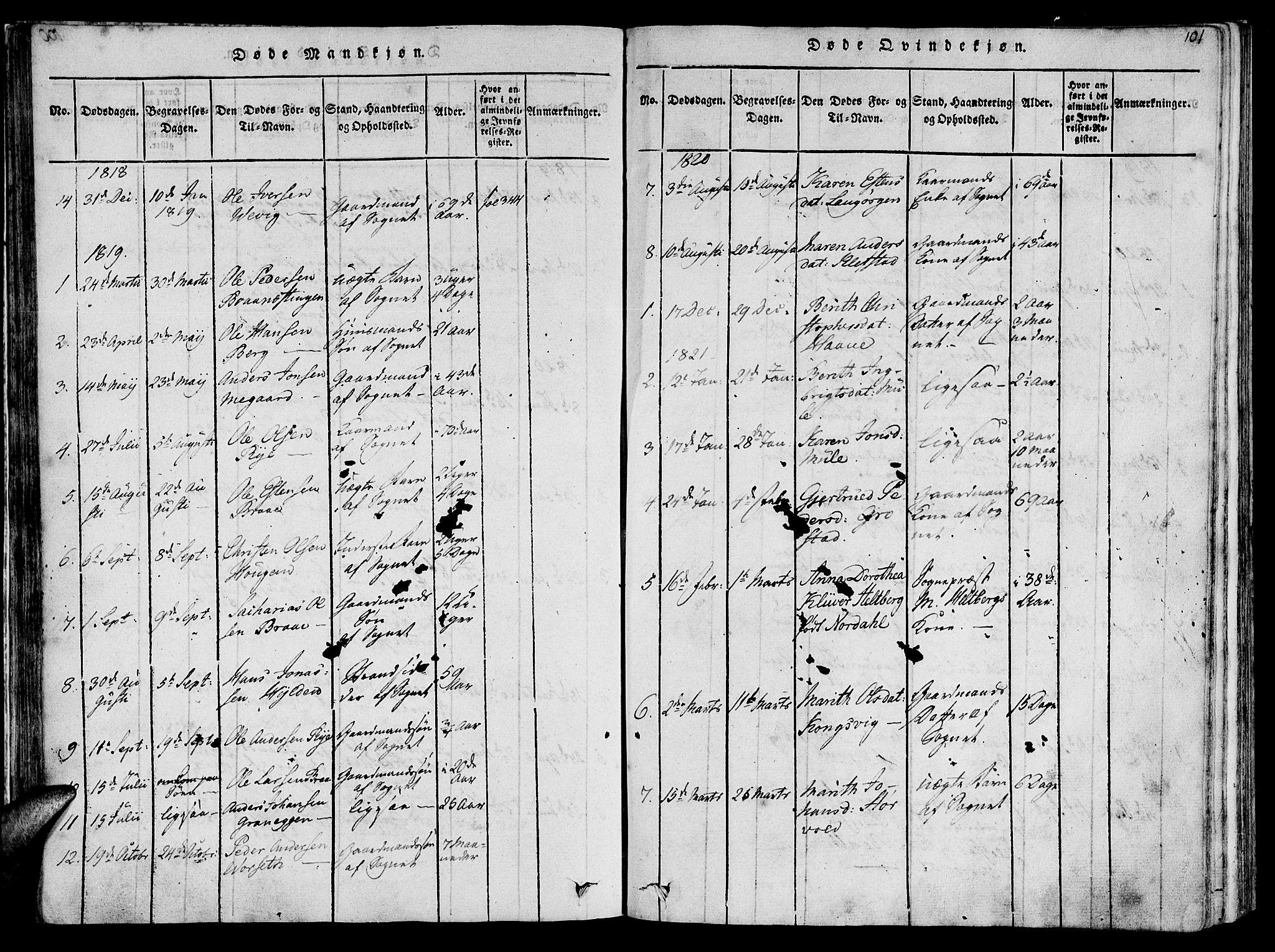 SAT, Ministerialprotokoller, klokkerbøker og fødselsregistre - Sør-Trøndelag, 612/L0372: Ministerialbok nr. 612A06 /1, 1816-1828, s. 101