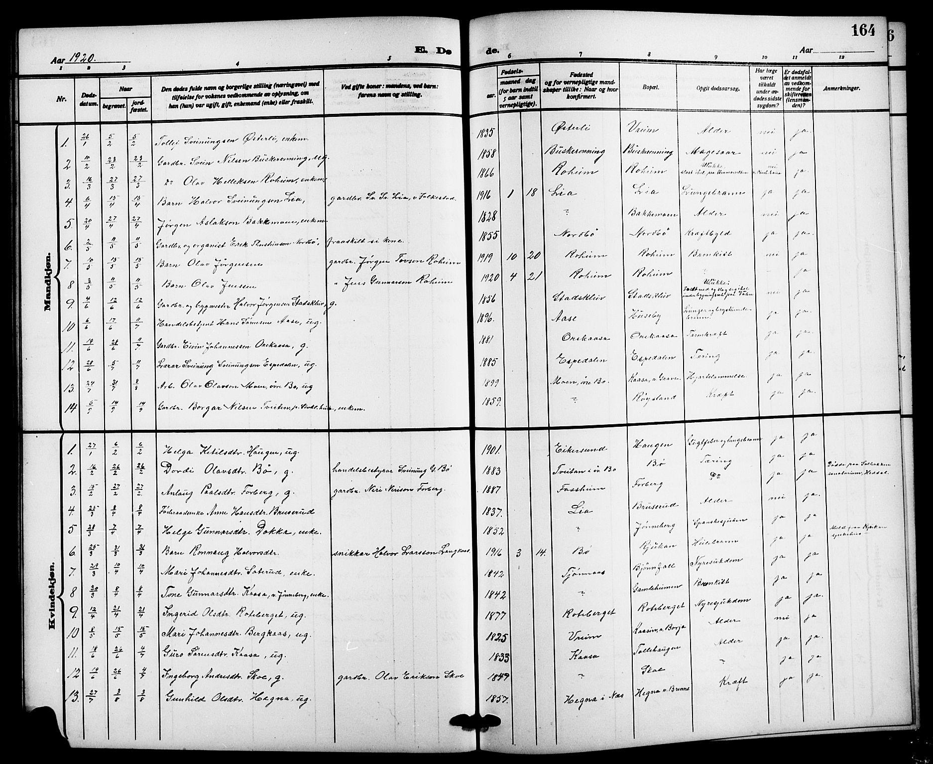 SAKO, Bø kirkebøker, G/Ga/L0007: Klokkerbok nr. 7, 1909-1924, s. 164