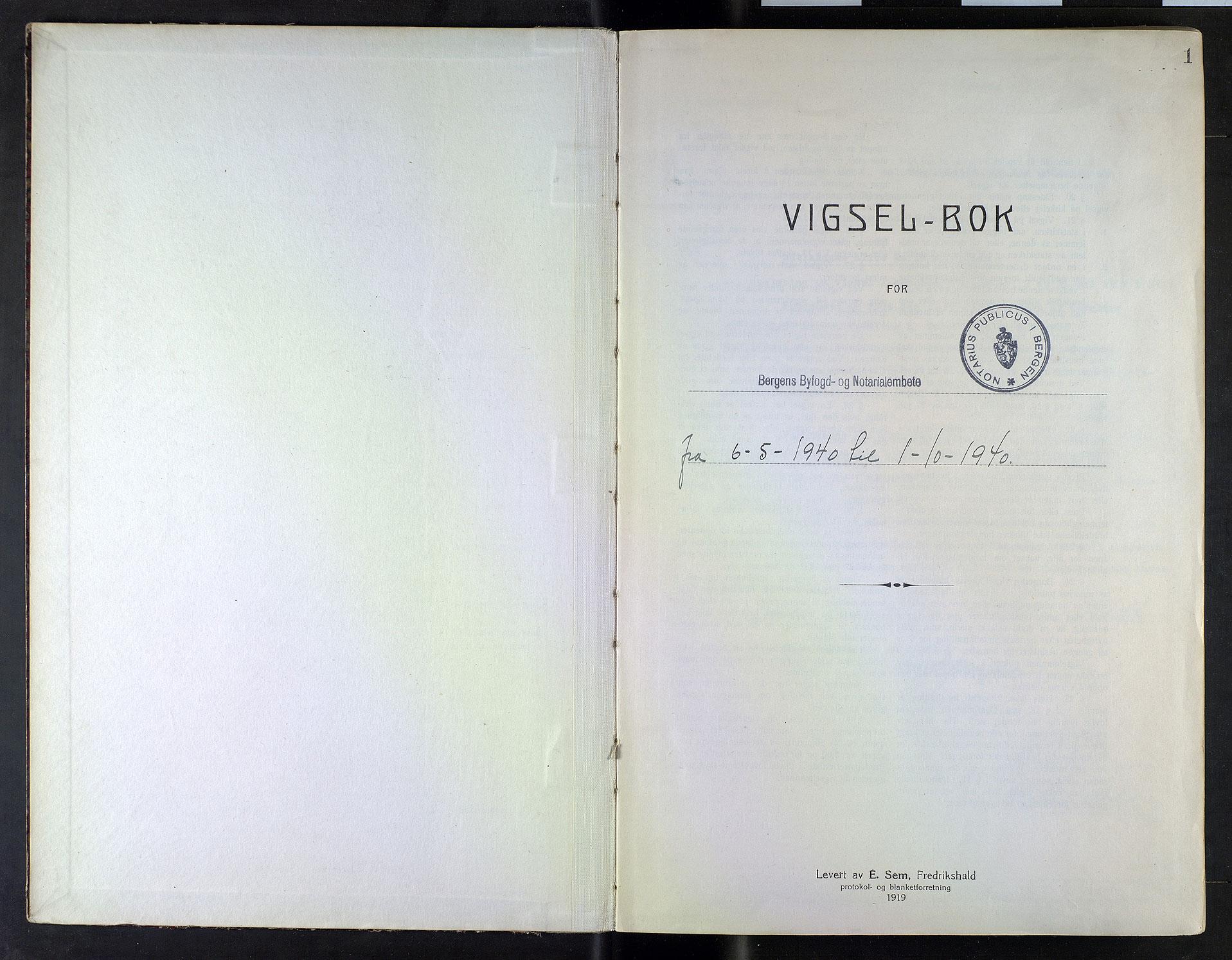 SAB, Bergen byfogd og byskriver*, 1940, s. 1a