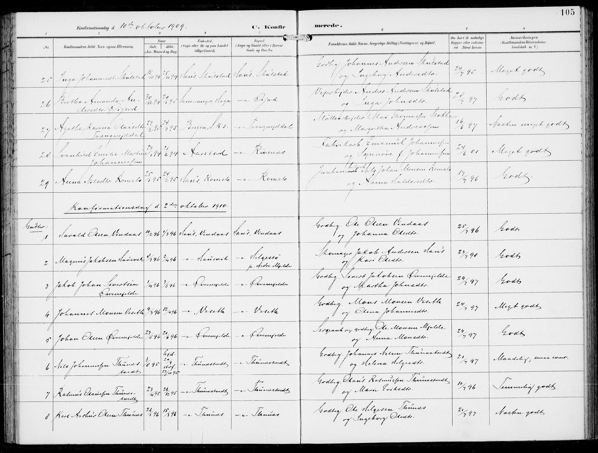 SAB, Haus Sokneprestembete, H/Haa: Ministerialbok nr. B  2, 1899-1912, s. 105