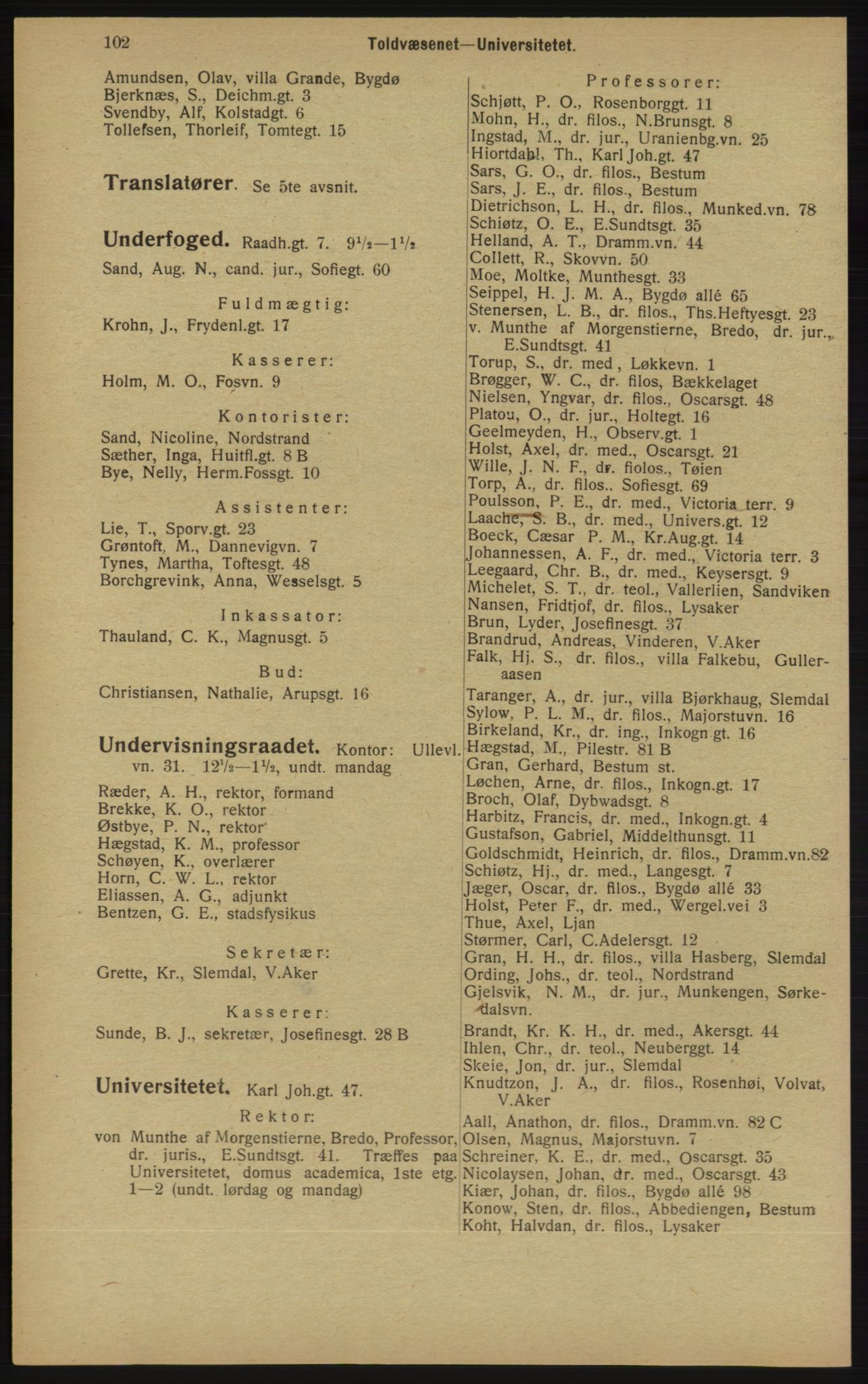 RA, Kristiania adressebok (publikasjon)*, 1913, s. 102