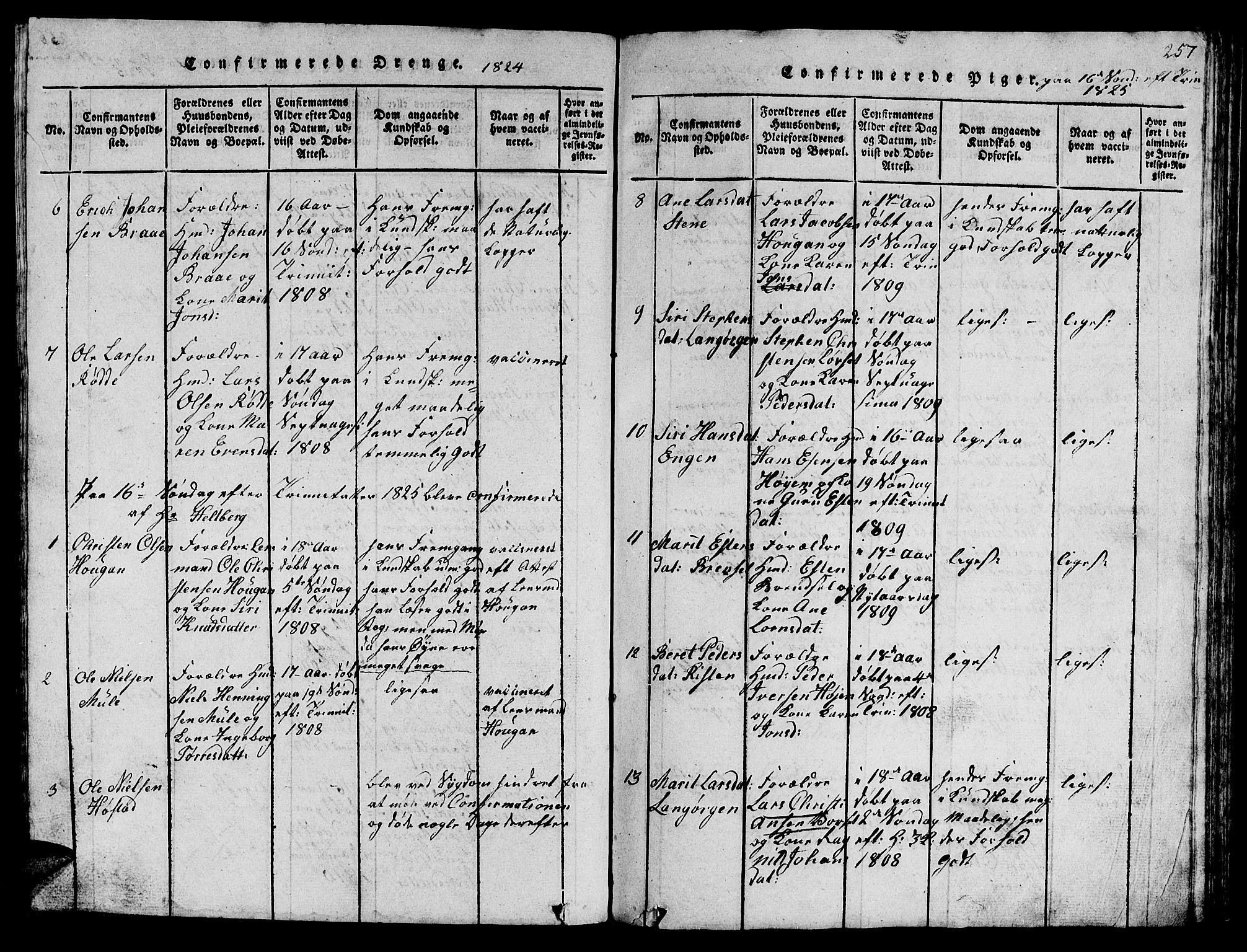 SAT, Ministerialprotokoller, klokkerbøker og fødselsregistre - Sør-Trøndelag, 612/L0385: Klokkerbok nr. 612C01, 1816-1845, s. 257