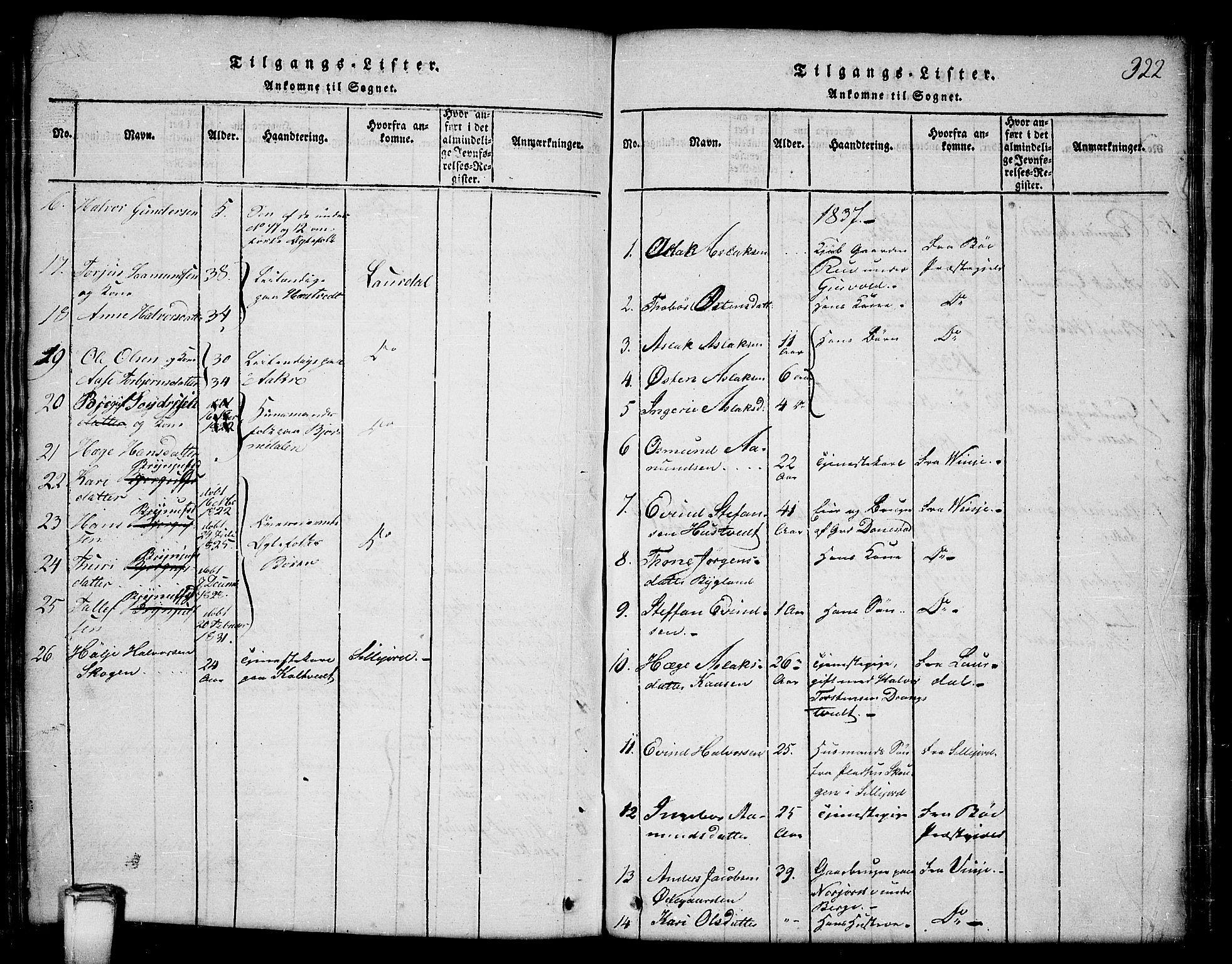 SAKO, Kviteseid kirkebøker, G/Gb/L0001: Klokkerbok nr. II 1, 1815-1842, s. 322