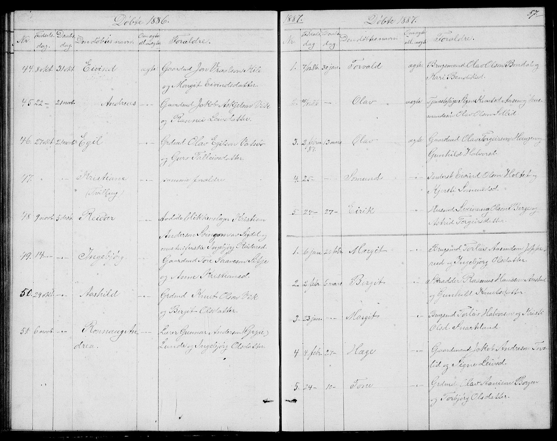 SAKO, Fyresdal kirkebøker, G/Ga/L0004: Klokkerbok nr. I 4, 1864-1892, s. 57