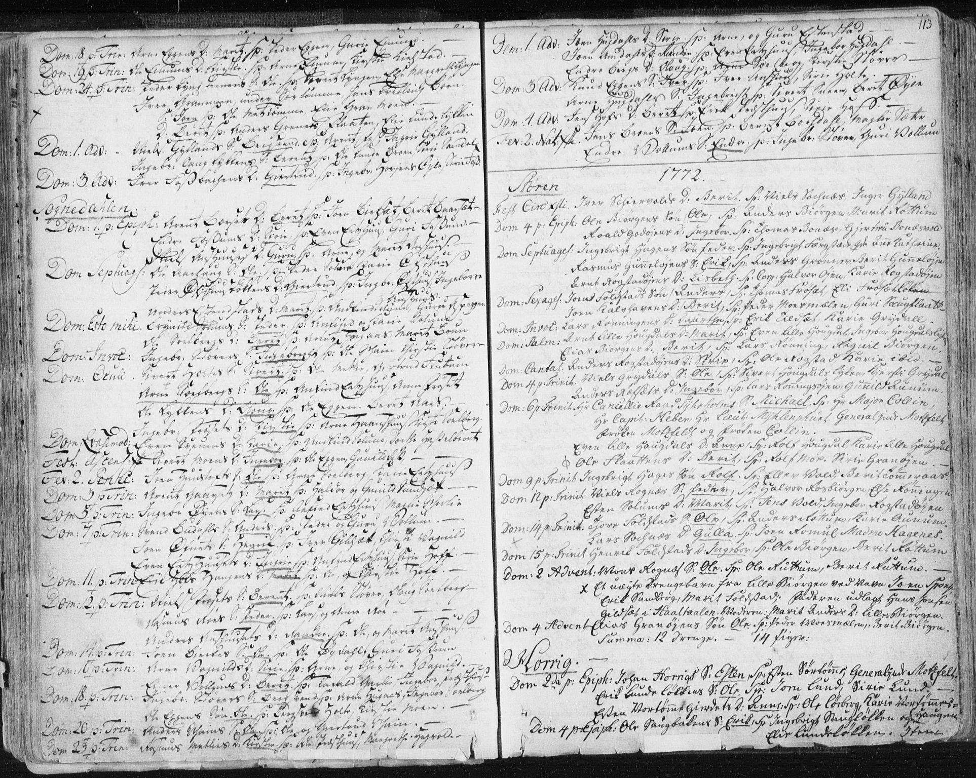 SAT, Ministerialprotokoller, klokkerbøker og fødselsregistre - Sør-Trøndelag, 687/L0991: Ministerialbok nr. 687A02, 1747-1790, s. 113
