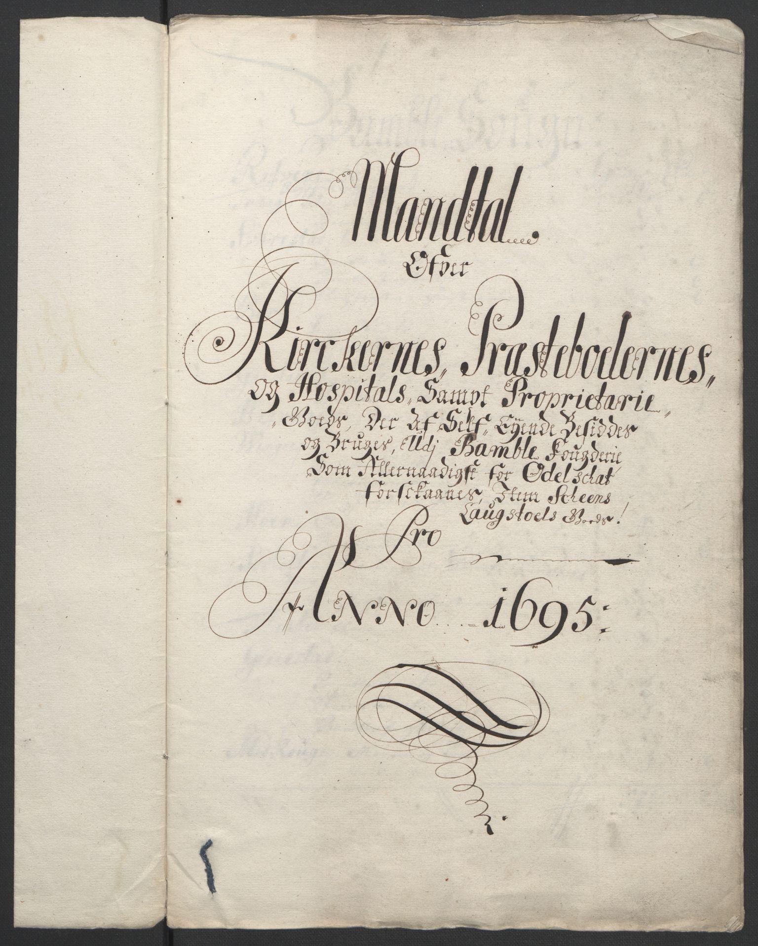 RA, Rentekammeret inntil 1814, Reviderte regnskaper, Fogderegnskap, R36/L2093: Fogderegnskap Øvre og Nedre Telemark og Bamble, 1695, s. 536