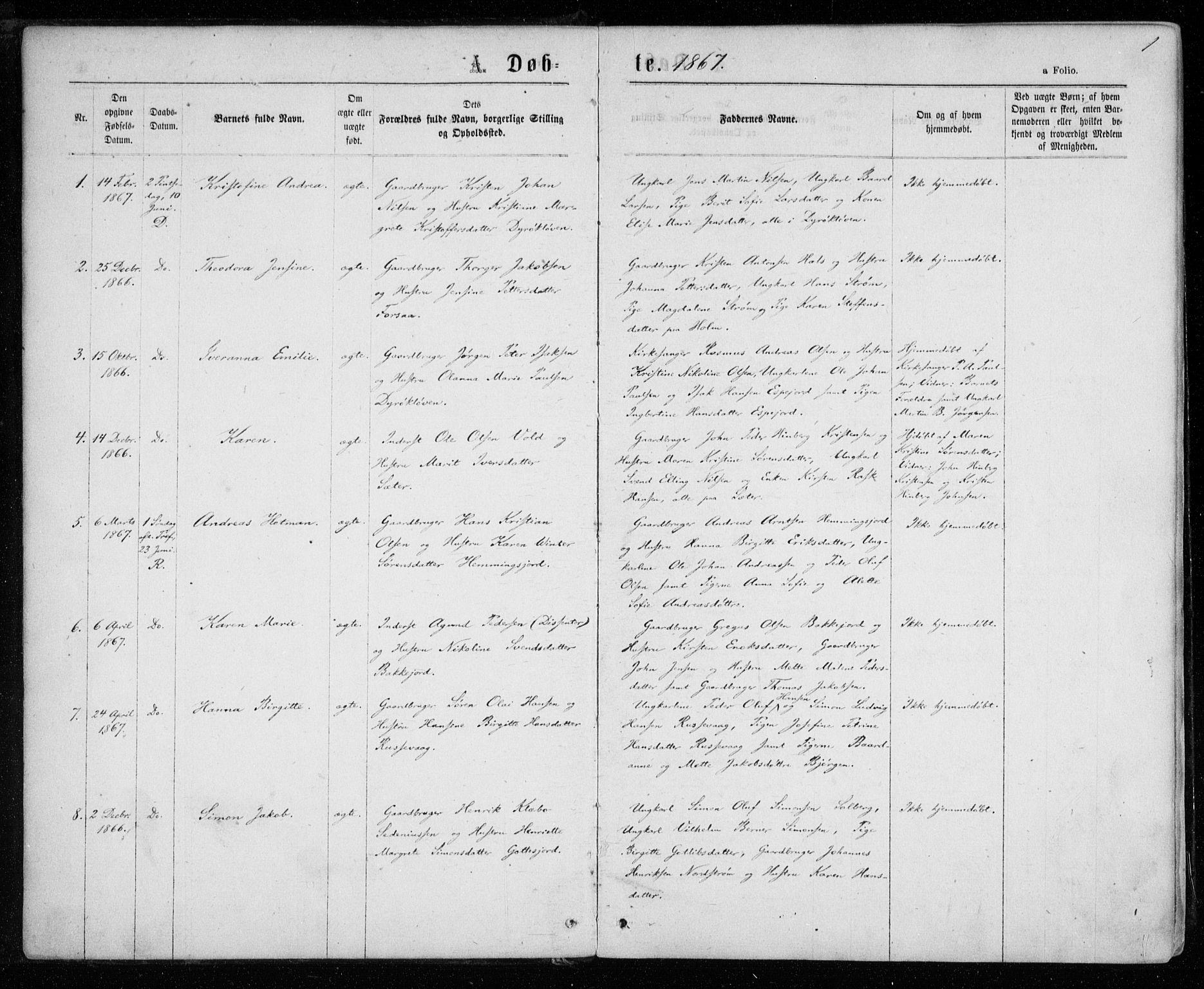 SATØ, Tranøy sokneprestkontor, I/Ia/Iaa/L0008kirke: Ministerialbok nr. 8, 1867-1877, s. 1