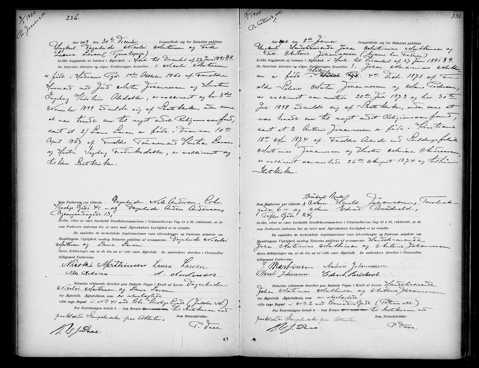 SAO, Oslo byfogd avd. I, L/Lb/Lbb/L0004: Notarialprotokoll, rekke II: Vigsler, 1897-1902, s. 337b-338a