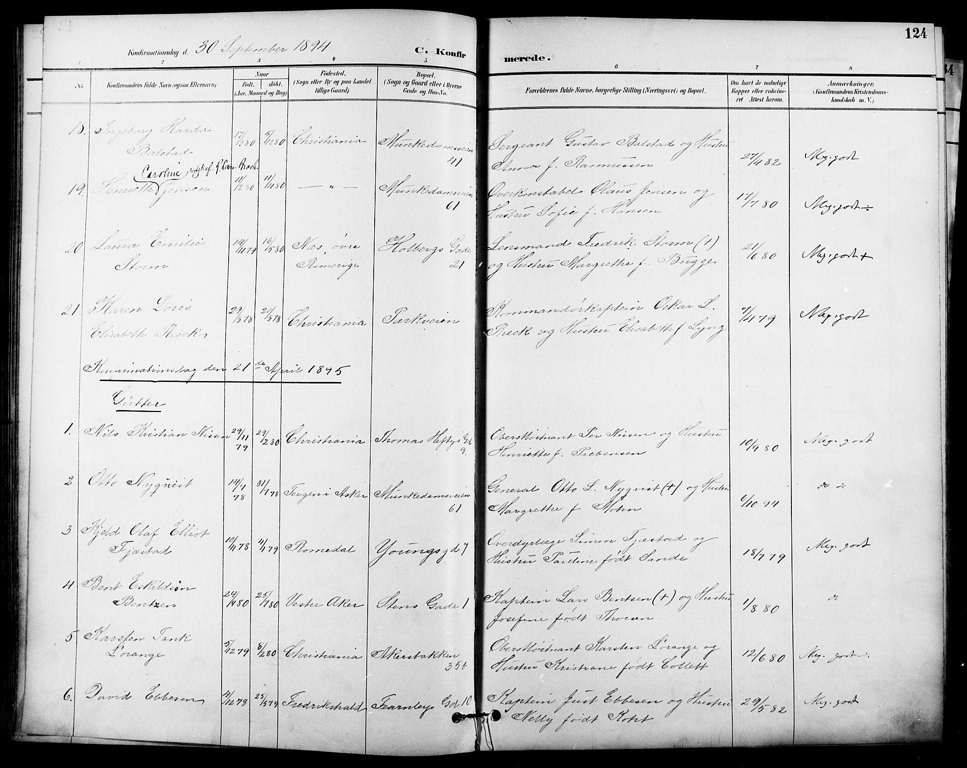 SAO, Garnisonsmenigheten Kirkebøker, F/Fa/L0013: Ministerialbok nr. 13, 1894-1904, s. 124