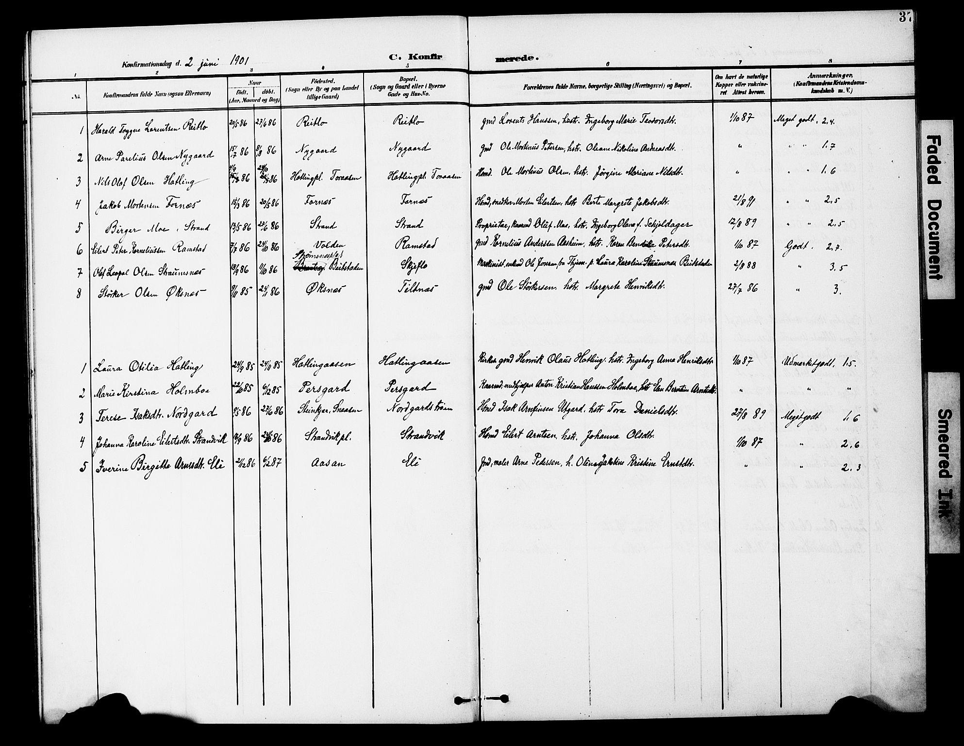 SAT, Ministerialprotokoller, klokkerbøker og fødselsregistre - Nord-Trøndelag, 746/L0452: Ministerialbok nr. 746A09, 1900-1908, s. 37