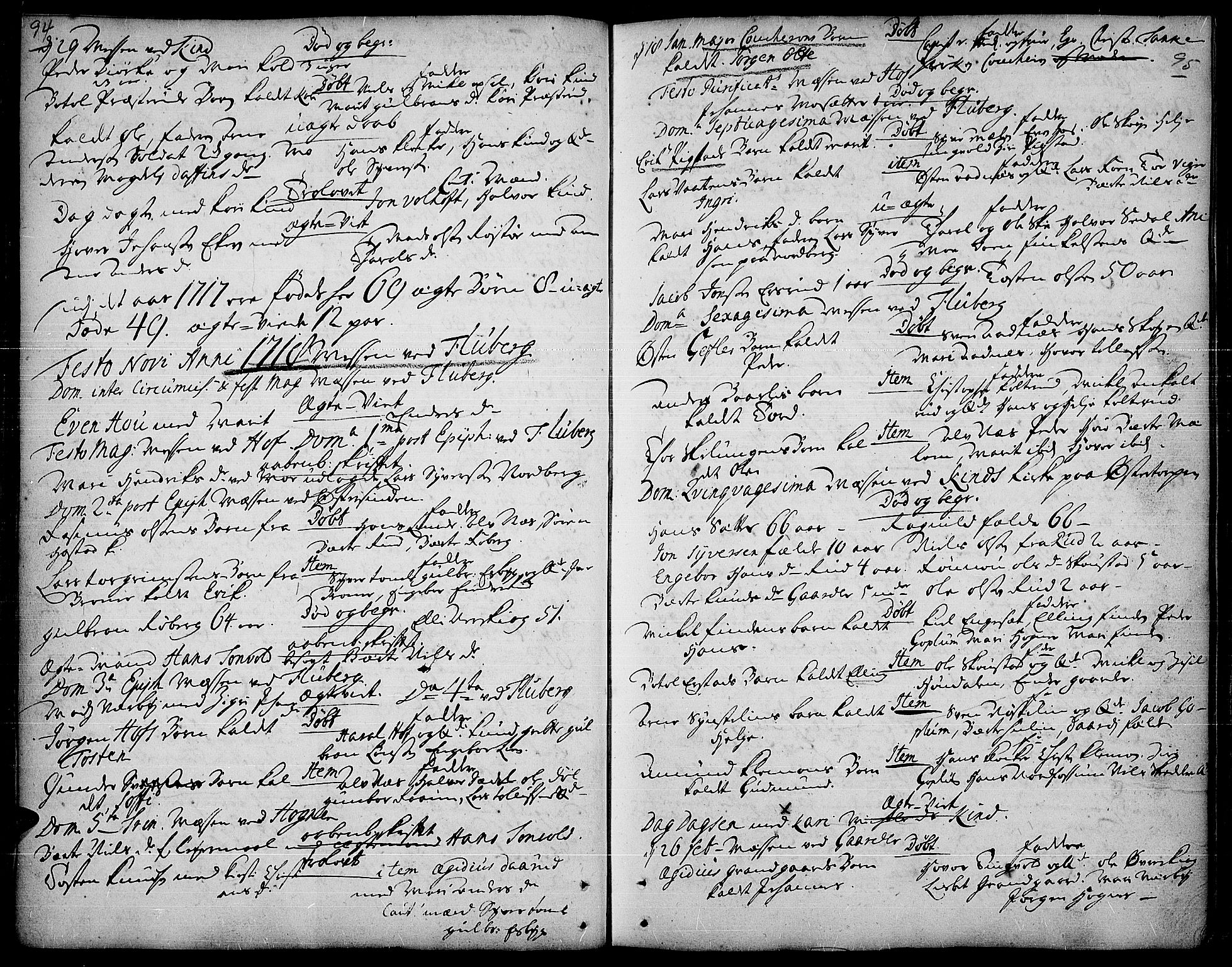 SAH, Land prestekontor, Ministerialbok nr. 1, 1708-1732, s. 94-95