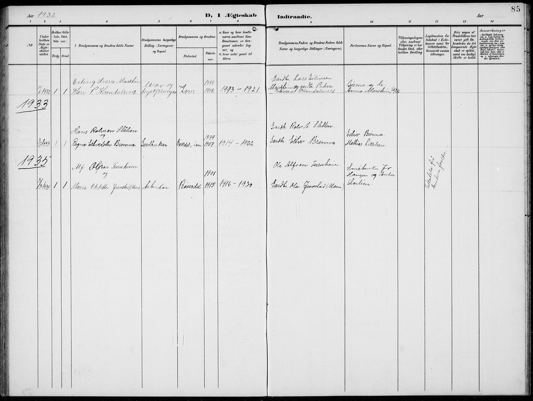 SAH, Lom prestekontor, L/L0007: Klokkerbok nr. 7, 1904-1938, s. 85