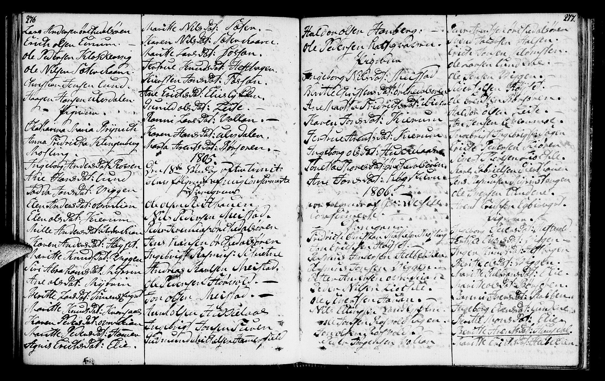 SAT, Ministerialprotokoller, klokkerbøker og fødselsregistre - Sør-Trøndelag, 665/L0769: Ministerialbok nr. 665A04, 1803-1816, s. 276-277