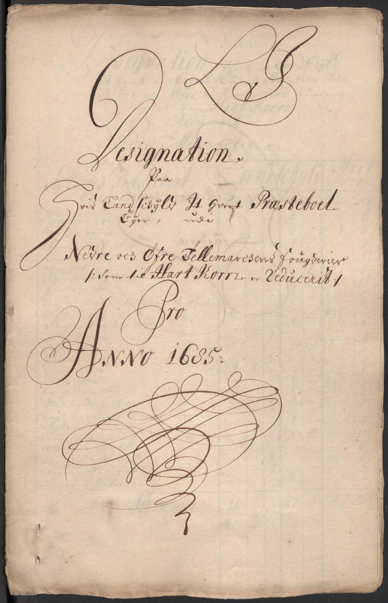 RA, Rentekammeret inntil 1814, Reviderte regnskaper, Fogderegnskap, R35/L2082: Fogderegnskap Øvre og Nedre Telemark, 1685, s. 301