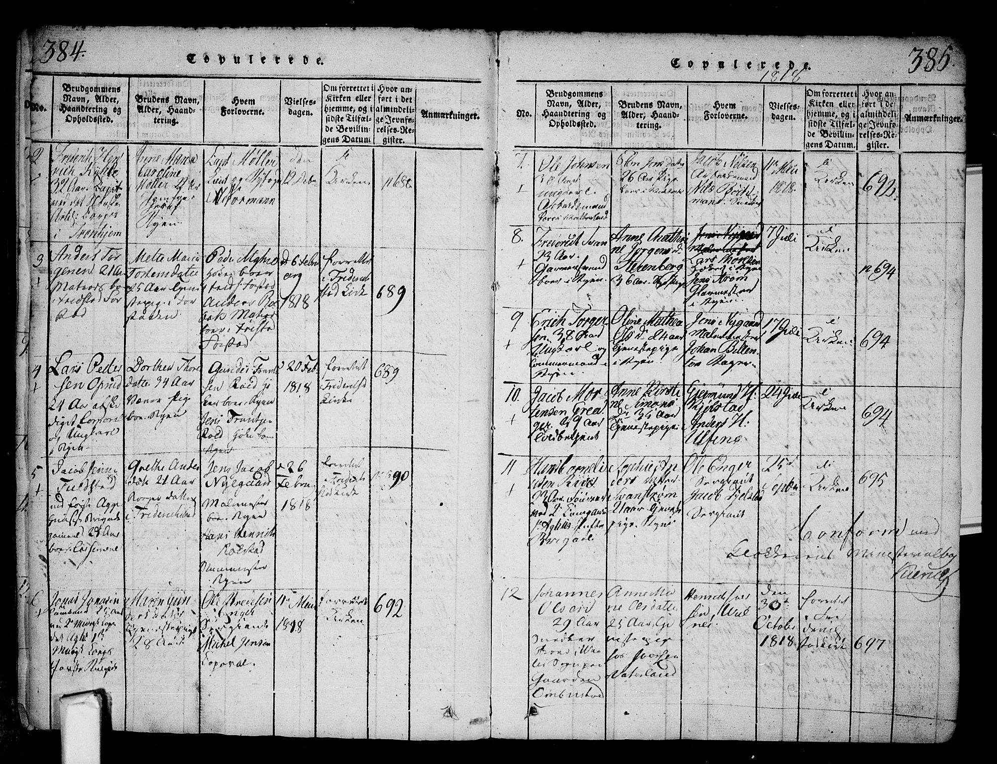 SAO, Fredrikstad prestekontor Kirkebøker, F/Fa/L0004: Ministerialbok nr. 4, 1816-1834, s. 384-385