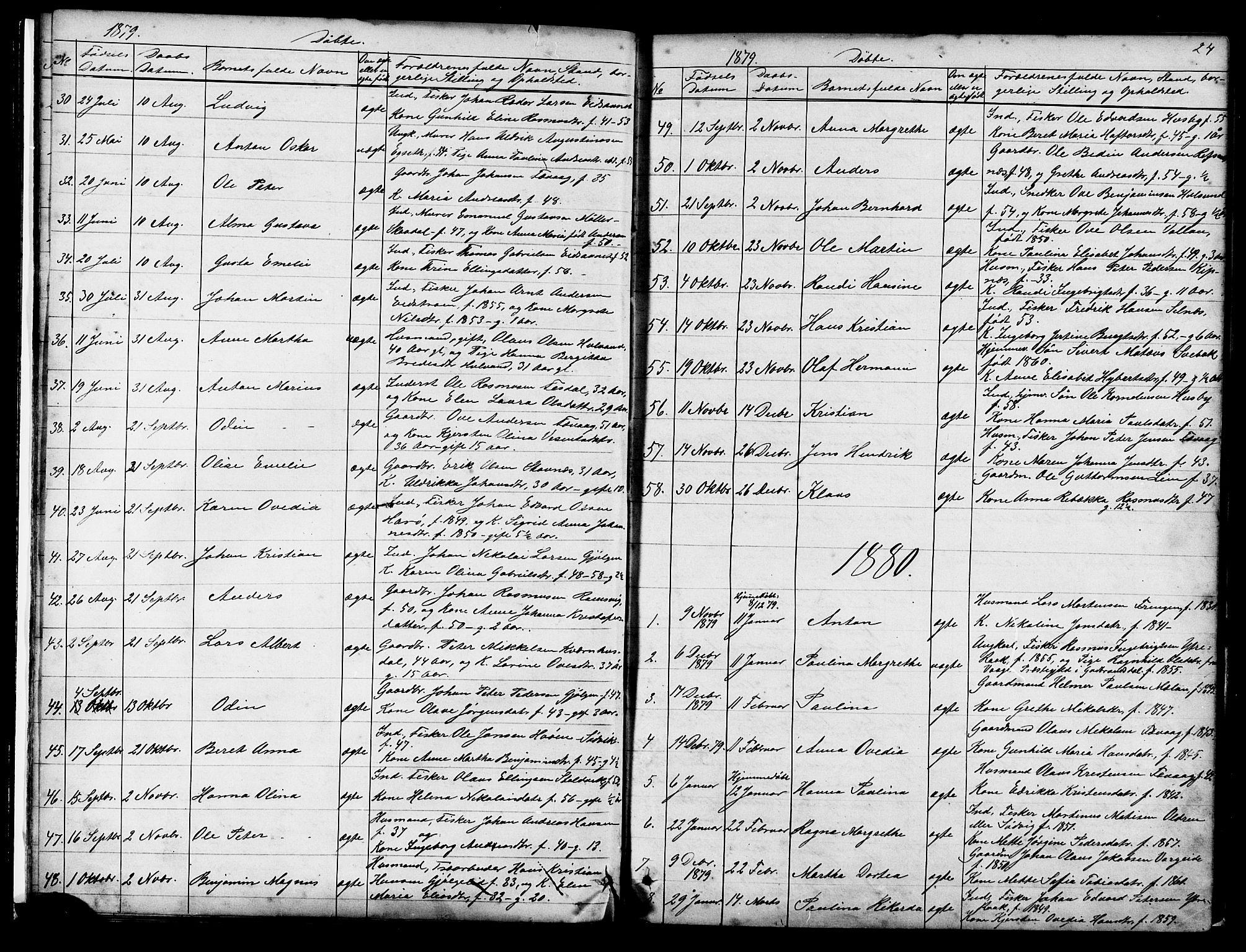 SAT, Ministerialprotokoller, klokkerbøker og fødselsregistre - Sør-Trøndelag, 653/L0657: Klokkerbok nr. 653C01, 1866-1893, s. 24