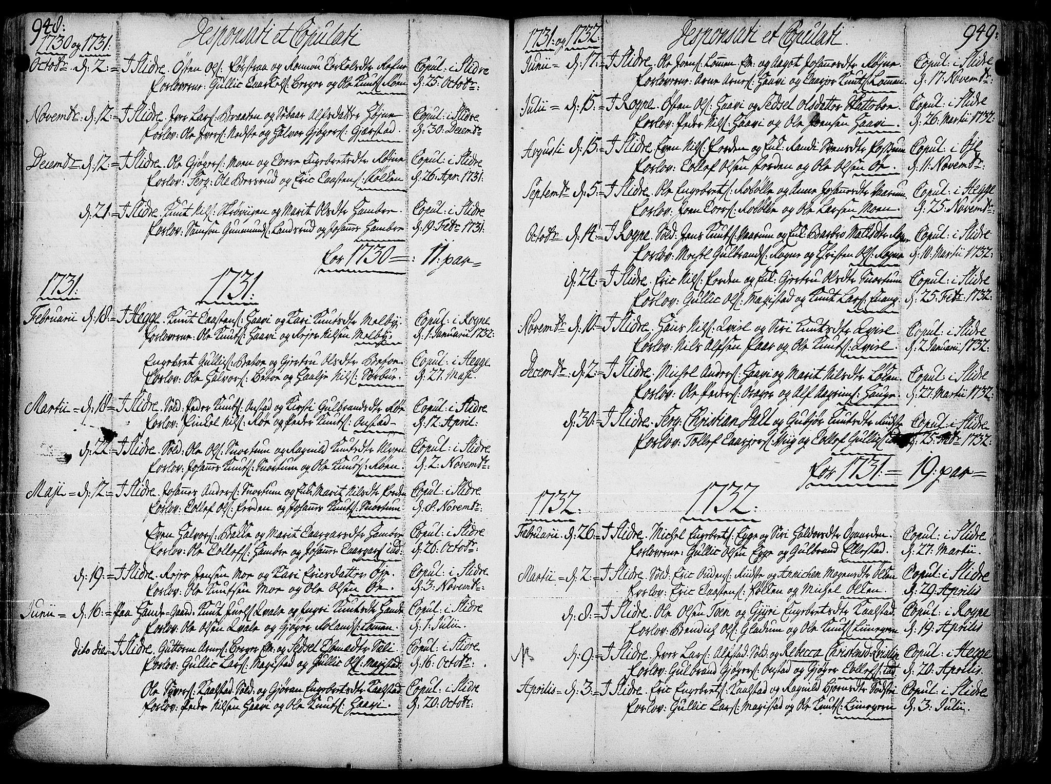 SAH, Slidre prestekontor, Ministerialbok nr. 1, 1724-1814, s. 948-949