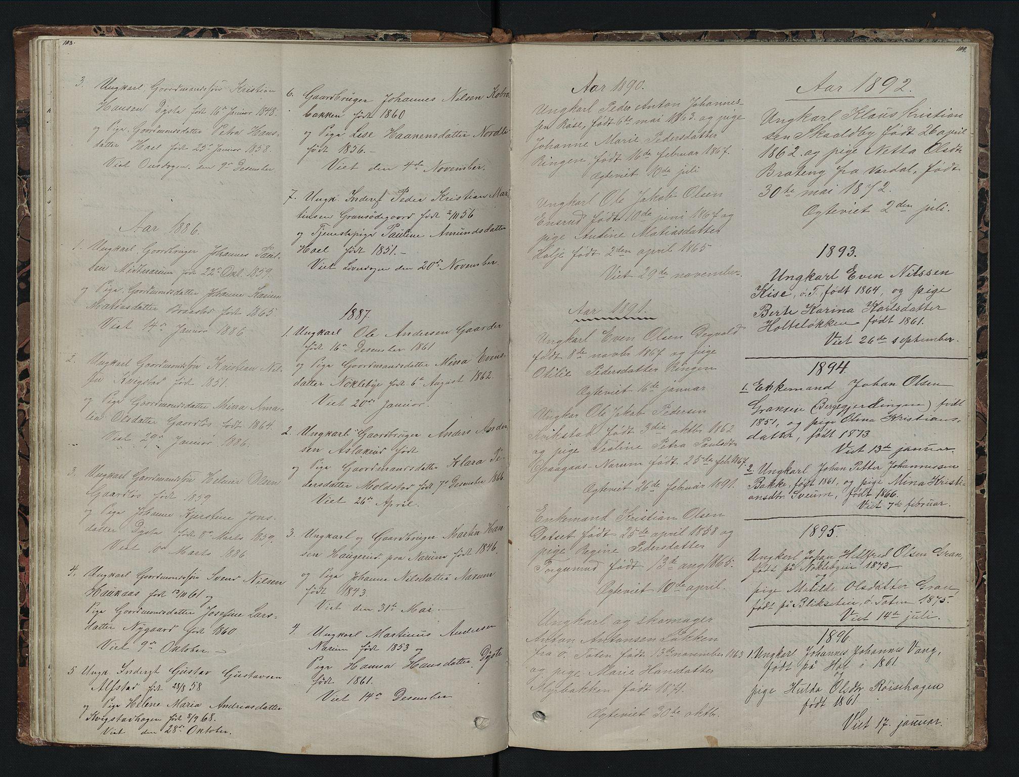 SAH, Vestre Toten prestekontor, Klokkerbok nr. 7, 1872-1900, s. 108-109