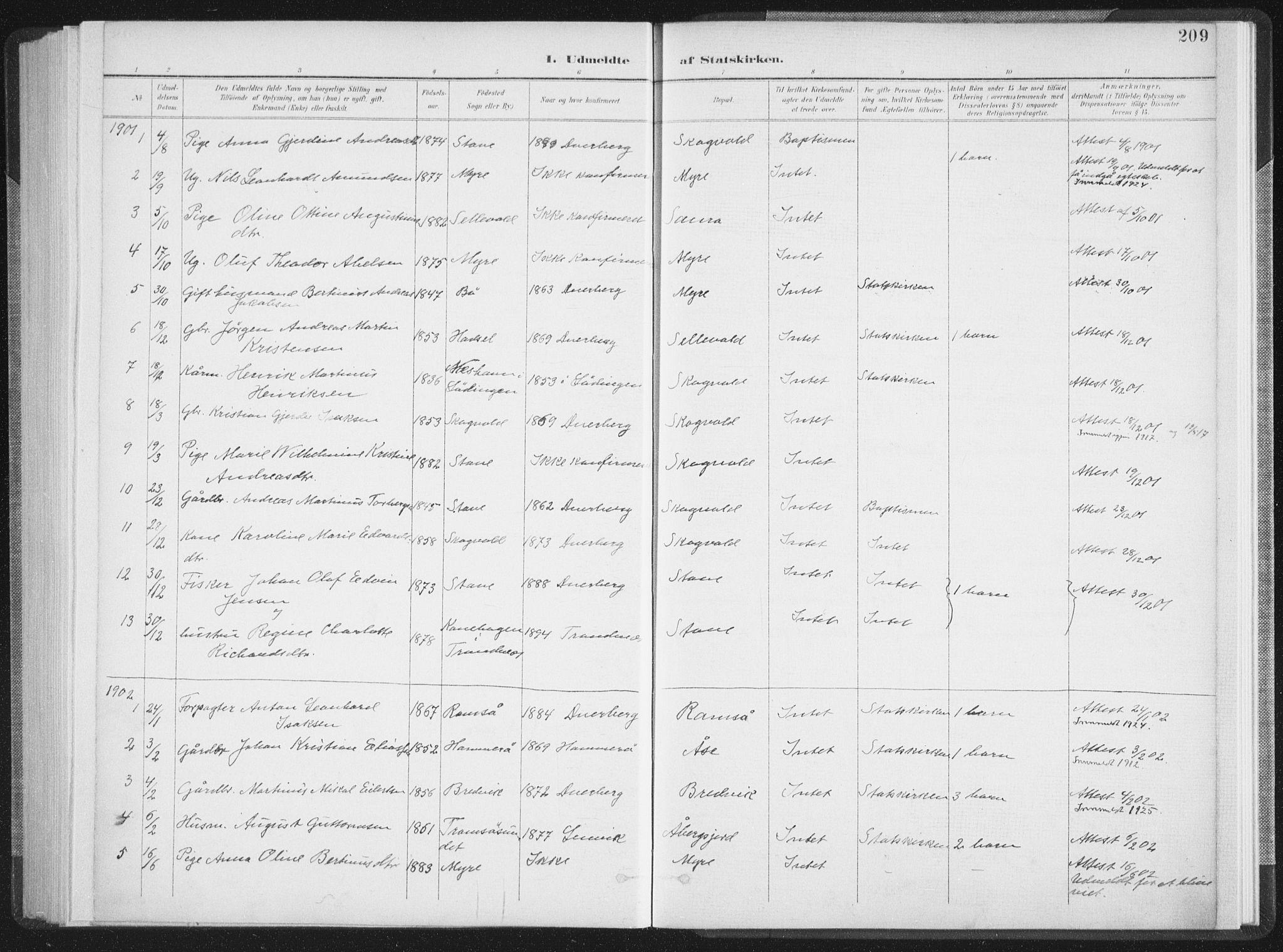 SAT, Ministerialprotokoller, klokkerbøker og fødselsregistre - Nordland, 897/L1400: Ministerialbok nr. 897A07, 1897-1908, s. 209