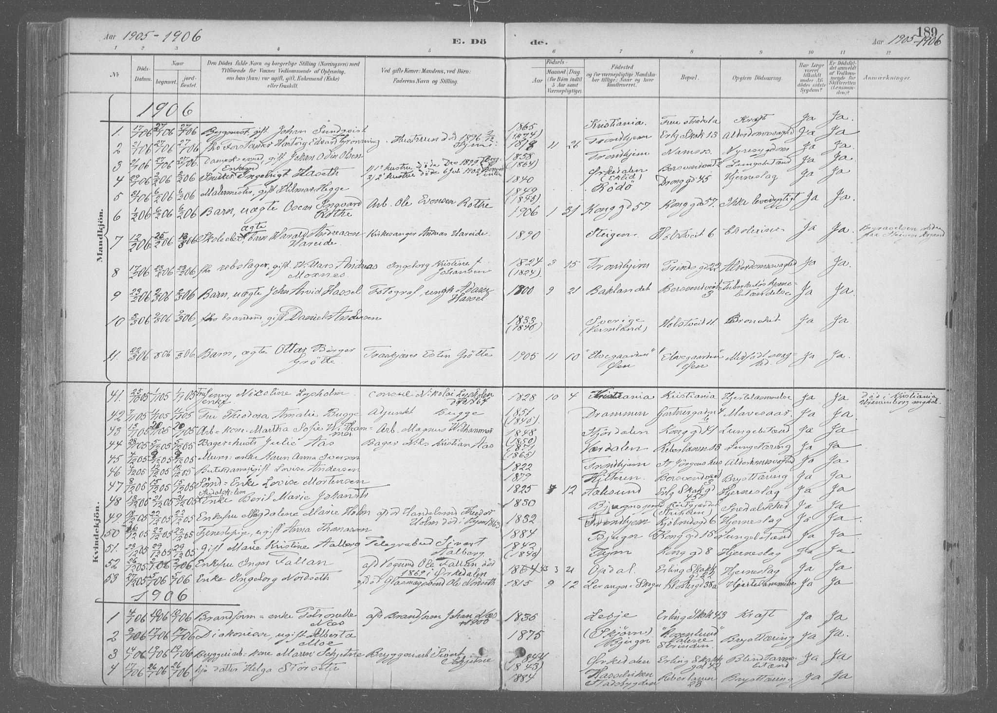 SAT, Ministerialprotokoller, klokkerbøker og fødselsregistre - Sør-Trøndelag, 601/L0064: Ministerialbok nr. 601A31, 1891-1911, s. 189
