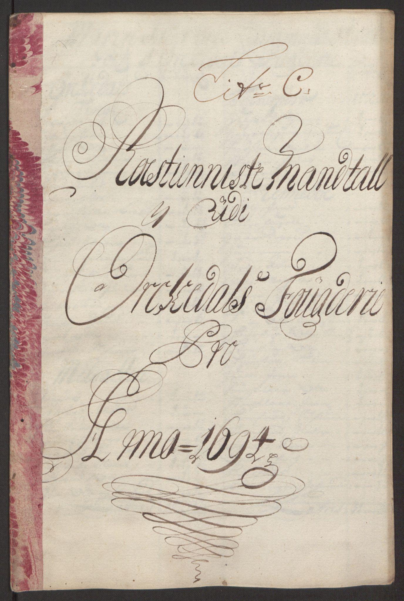 RA, Rentekammeret inntil 1814, Reviderte regnskaper, Fogderegnskap, R60/L3944: Fogderegnskap Orkdal og Gauldal, 1694, s. 70