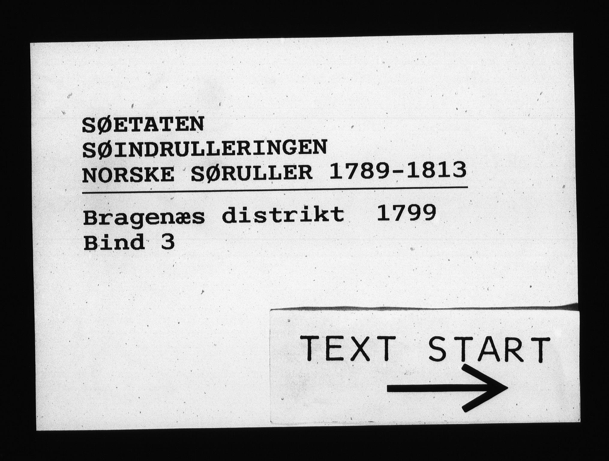 RA, Sjøetaten, F/L0127: Bragernes distrikt, bind 3, 1799