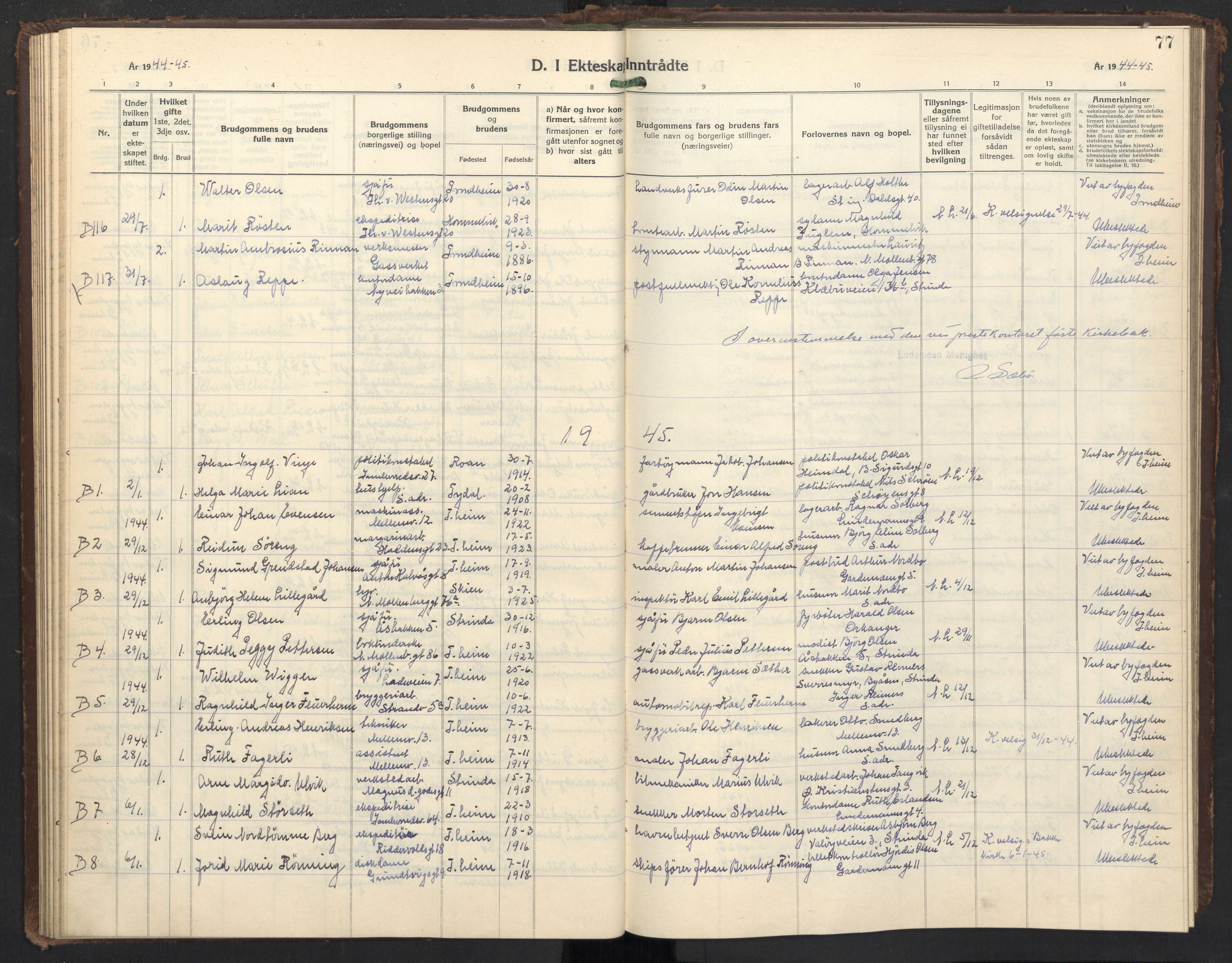 SAT, Ministerialprotokoller, klokkerbøker og fødselsregistre - Sør-Trøndelag, 605/L0263: Klokkerbok nr. 605C10, 1938-1949, s. 77