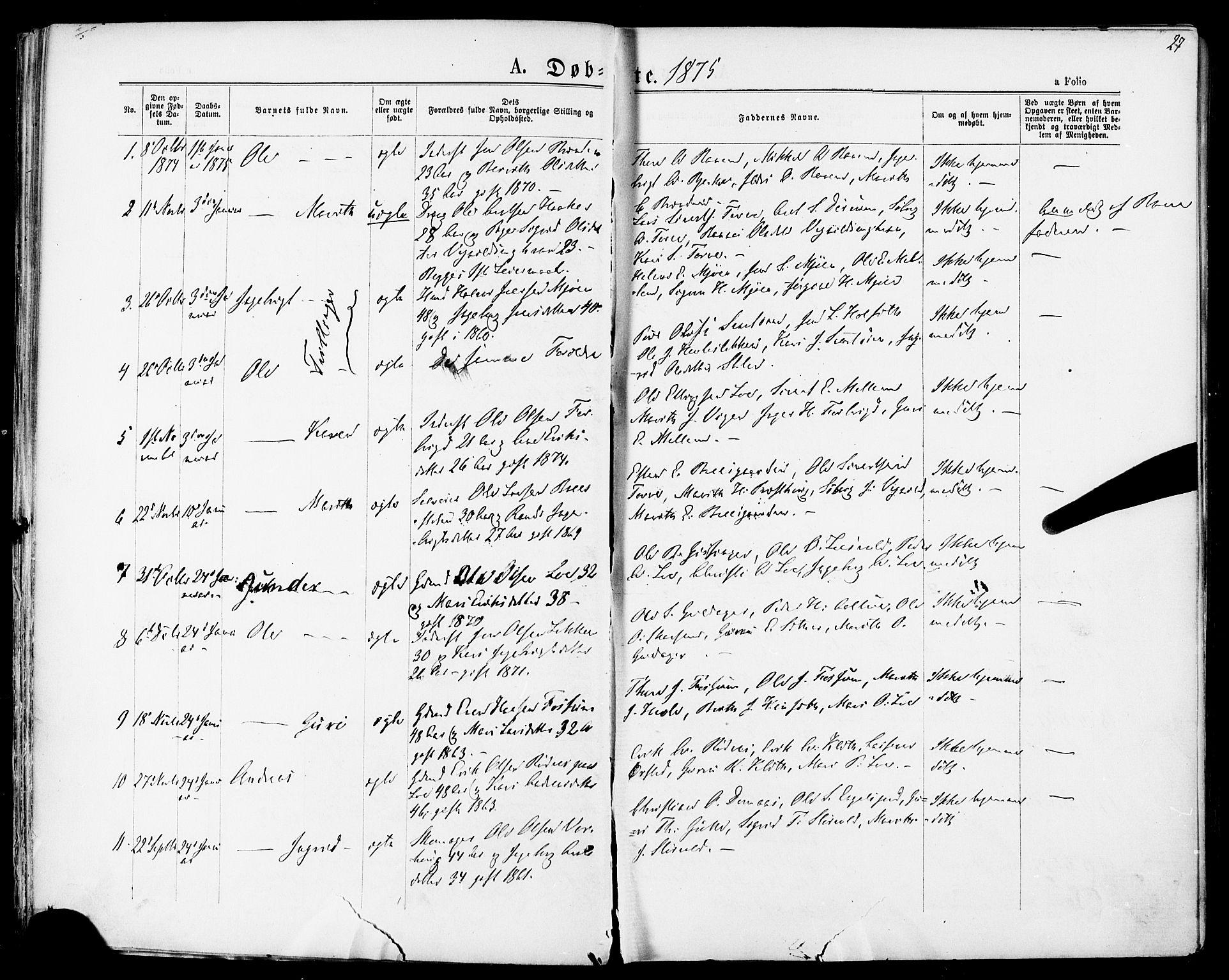 SAT, Ministerialprotokoller, klokkerbøker og fødselsregistre - Sør-Trøndelag, 678/L0900: Ministerialbok nr. 678A09, 1872-1881, s. 27