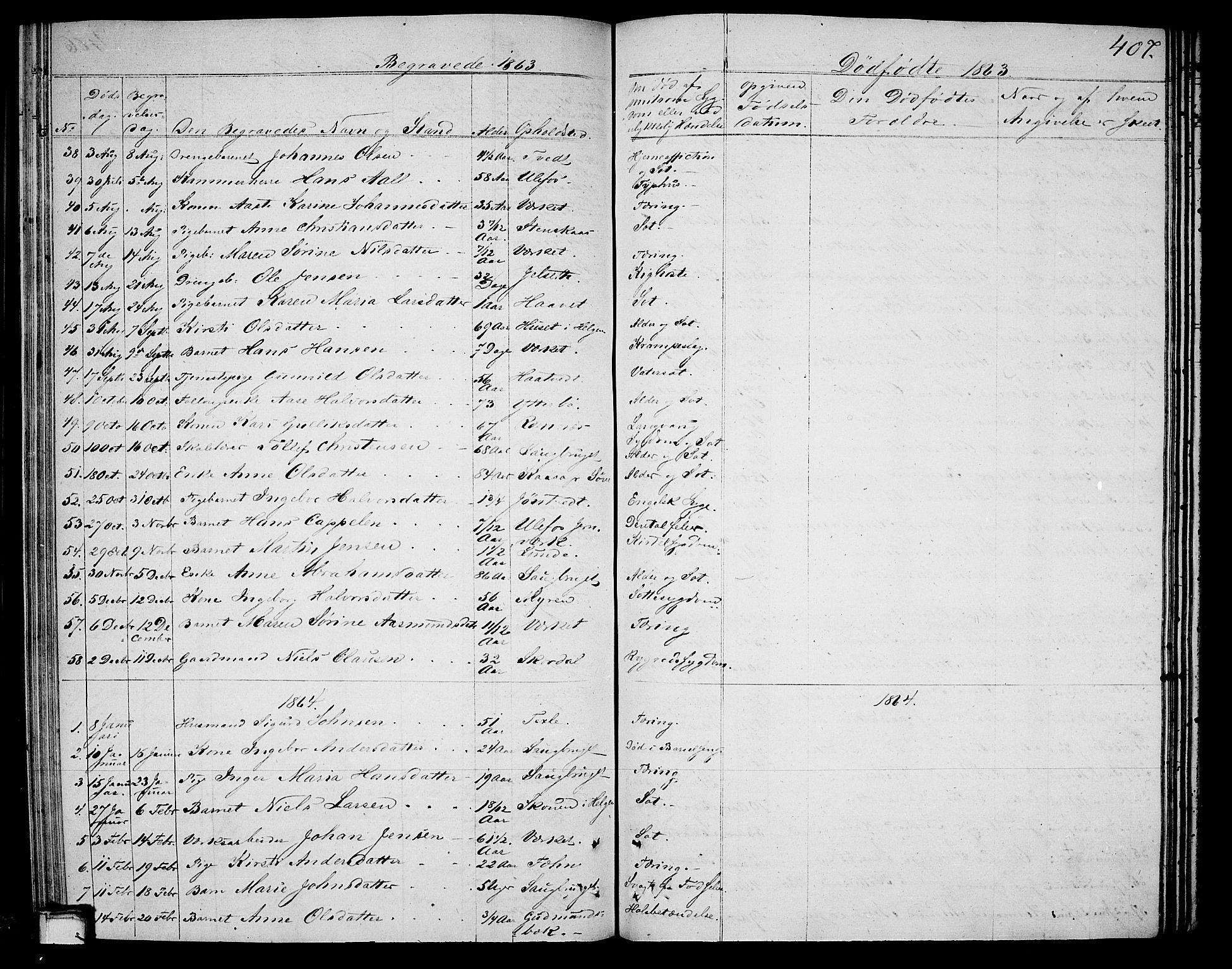 SAKO, Holla kirkebøker, G/Ga/L0003: Klokkerbok nr. I 3, 1849-1866, s. 407