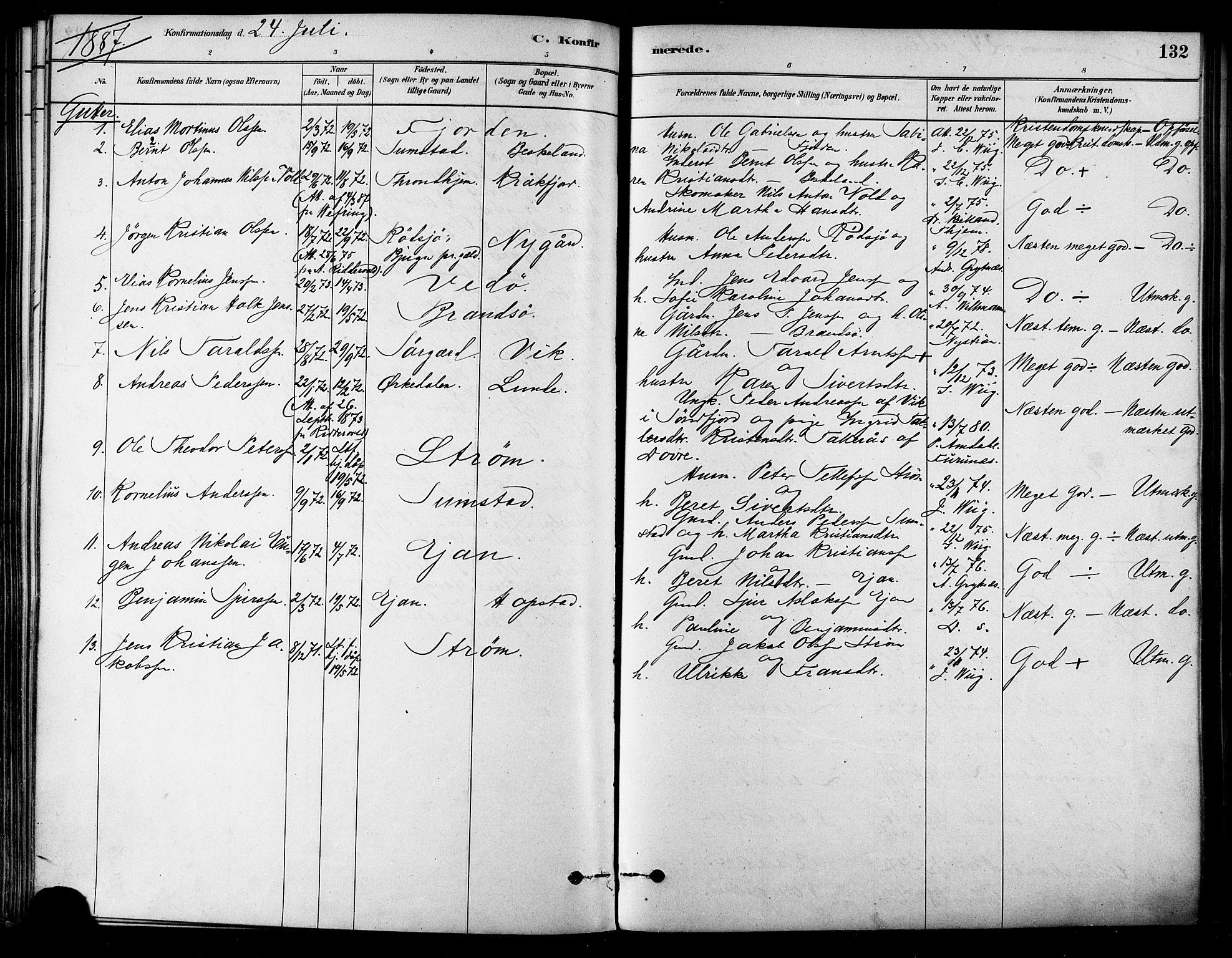 SAT, Ministerialprotokoller, klokkerbøker og fødselsregistre - Sør-Trøndelag, 657/L0707: Ministerialbok nr. 657A08, 1879-1893, s. 132