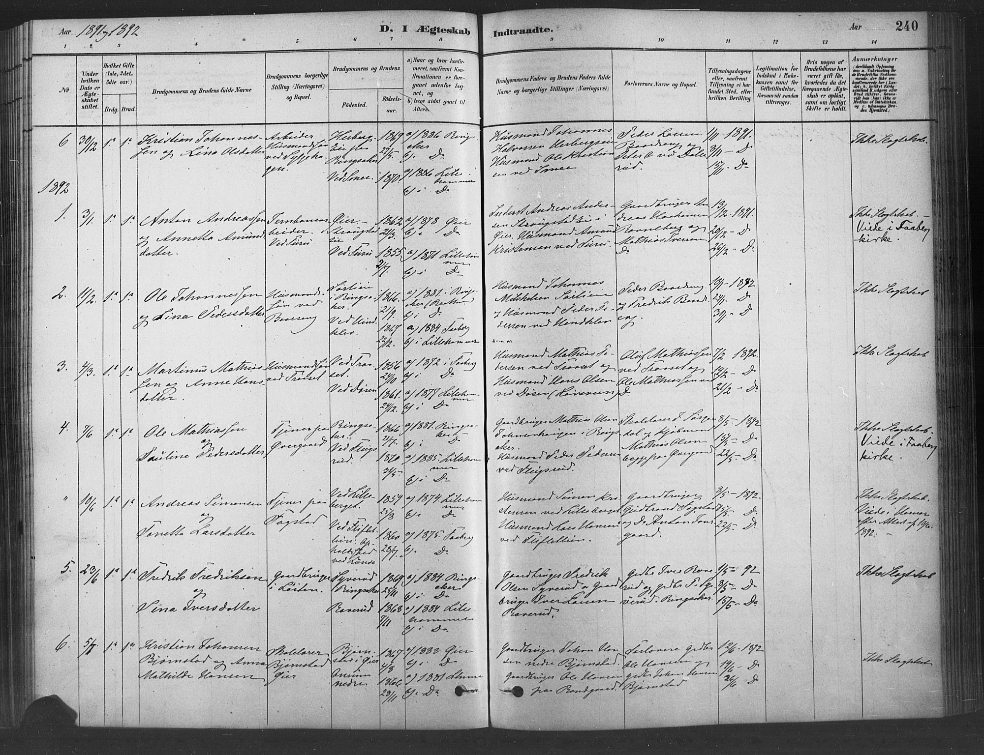 SAH, Fåberg prestekontor, Ministerialbok nr. 9, 1879-1898, s. 240