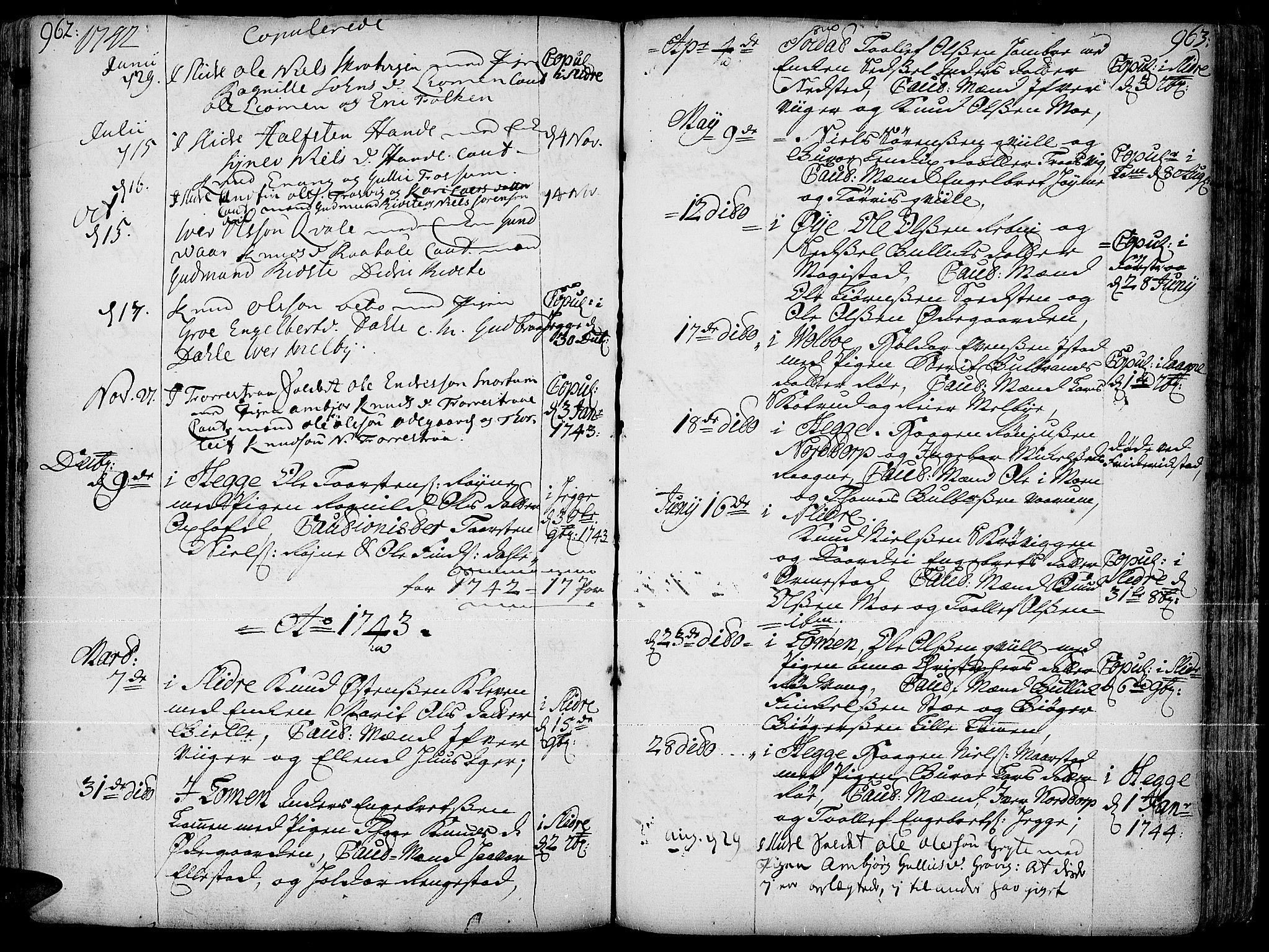 SAH, Slidre prestekontor, Ministerialbok nr. 1, 1724-1814, s. 962-963