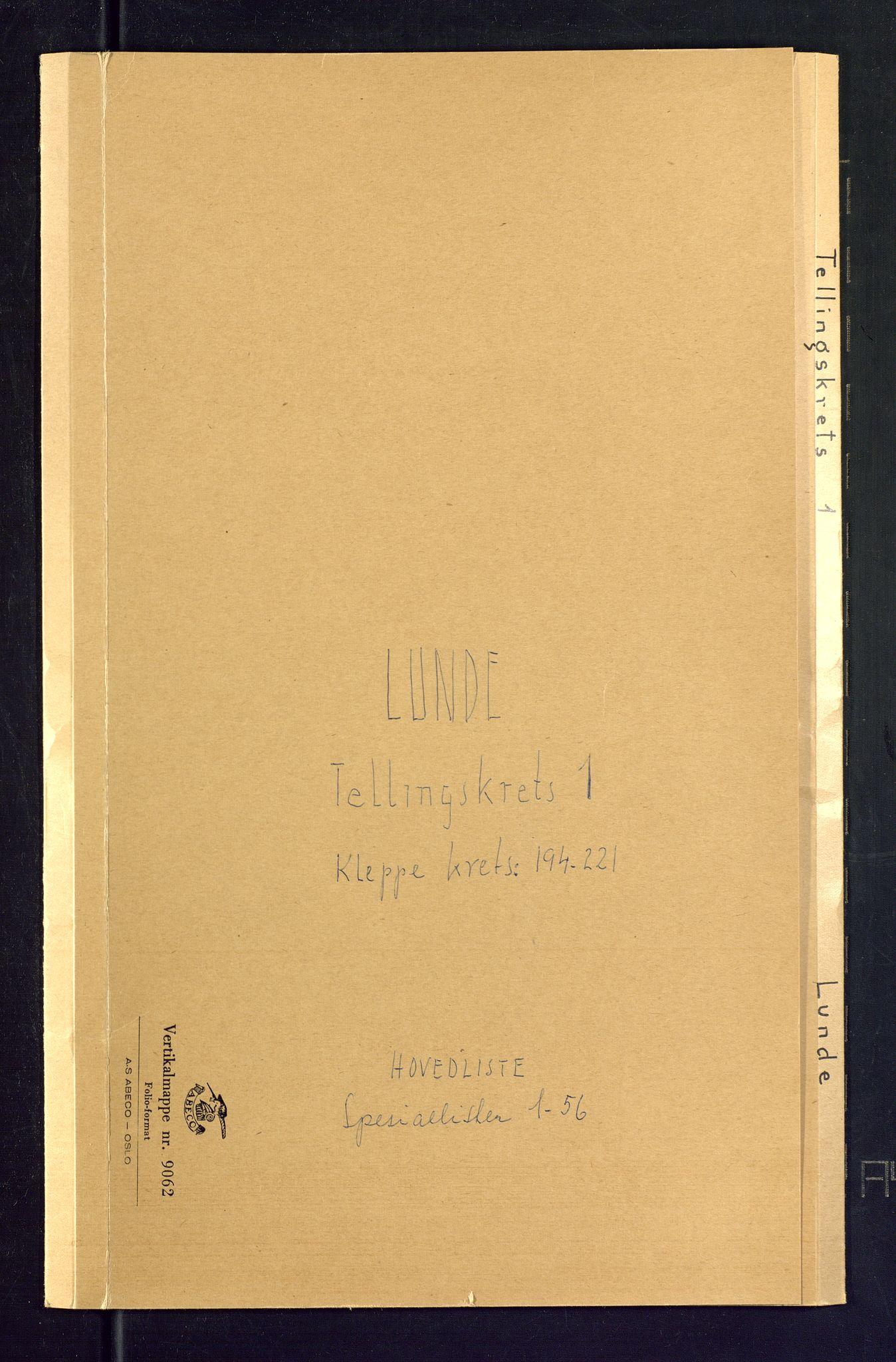 SAKO, Folketelling 1875 for 0820P Lunde prestegjeld, 1875, s. 1