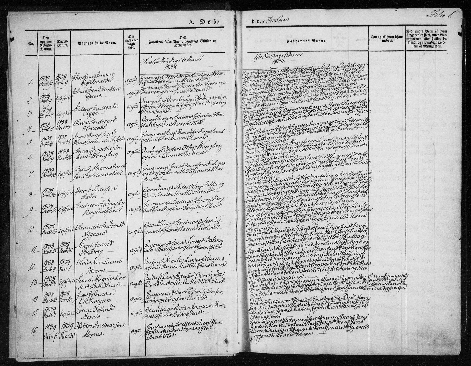 SAT, Ministerialprotokoller, klokkerbøker og fødselsregistre - Nord-Trøndelag, 713/L0115: Ministerialbok nr. 713A06, 1838-1851, s. 1