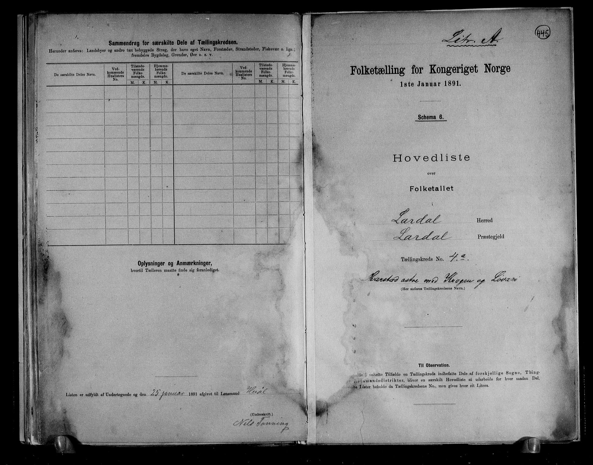 RA, Folketelling 1891 for 0728 Lardal herred, 1891, s. 14