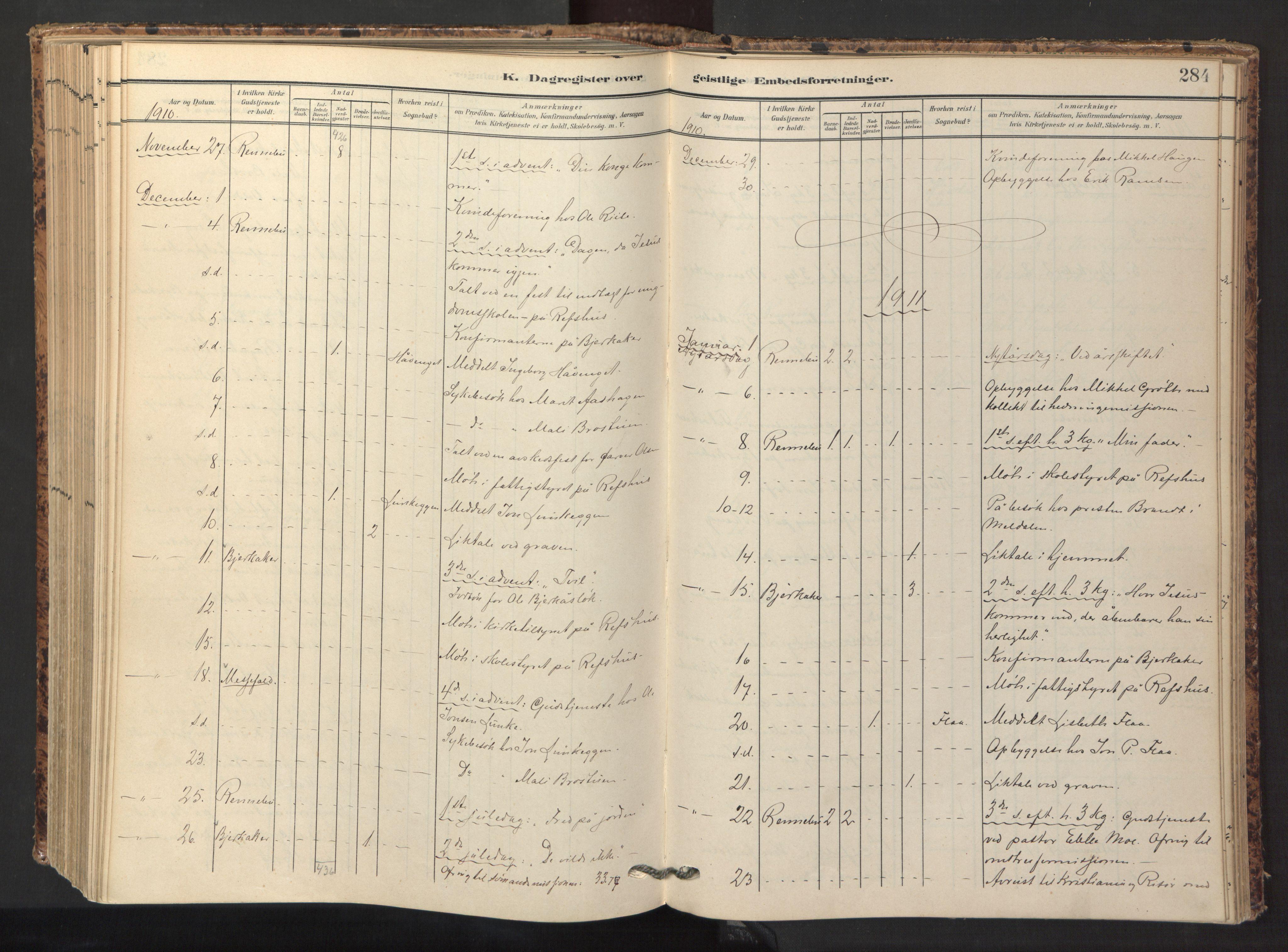 SAT, Ministerialprotokoller, klokkerbøker og fødselsregistre - Sør-Trøndelag, 674/L0873: Ministerialbok nr. 674A05, 1908-1923, s. 284