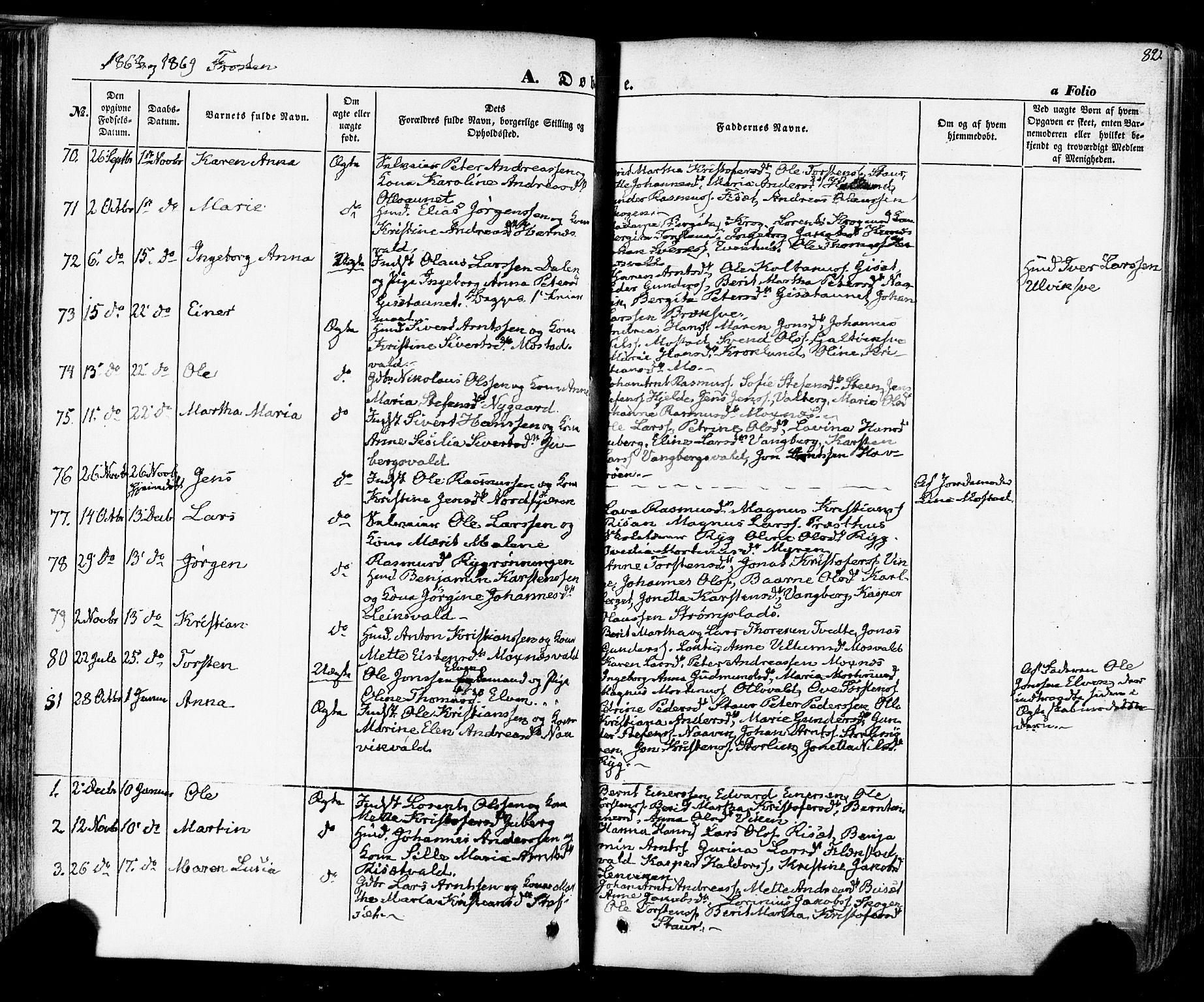SAT, Ministerialprotokoller, klokkerbøker og fødselsregistre - Nord-Trøndelag, 713/L0116: Ministerialbok nr. 713A07 /1, 1850-1877, s. 82