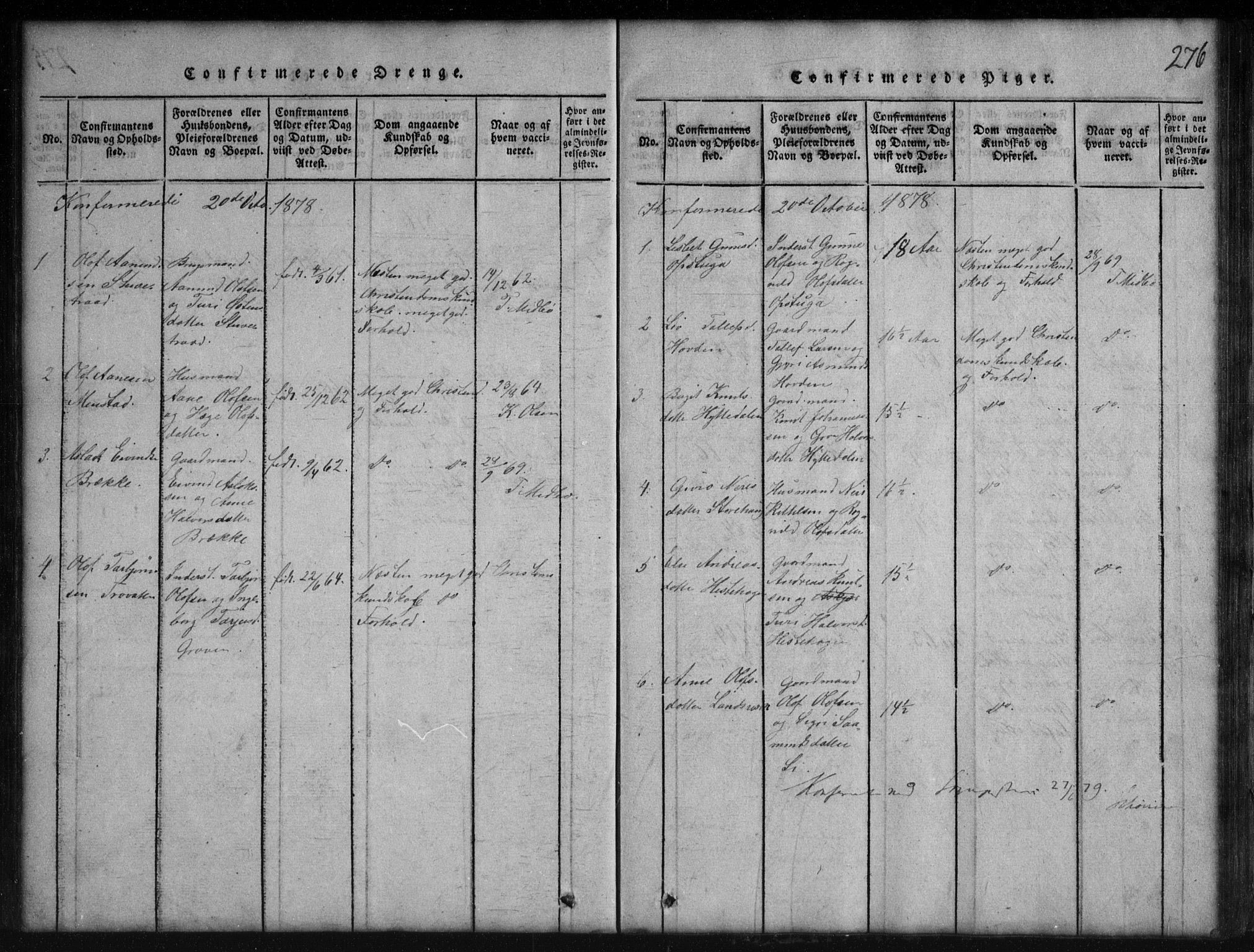SAKO, Rauland kirkebøker, G/Gb/L0001: Klokkerbok nr. II 1, 1815-1886, s. 276