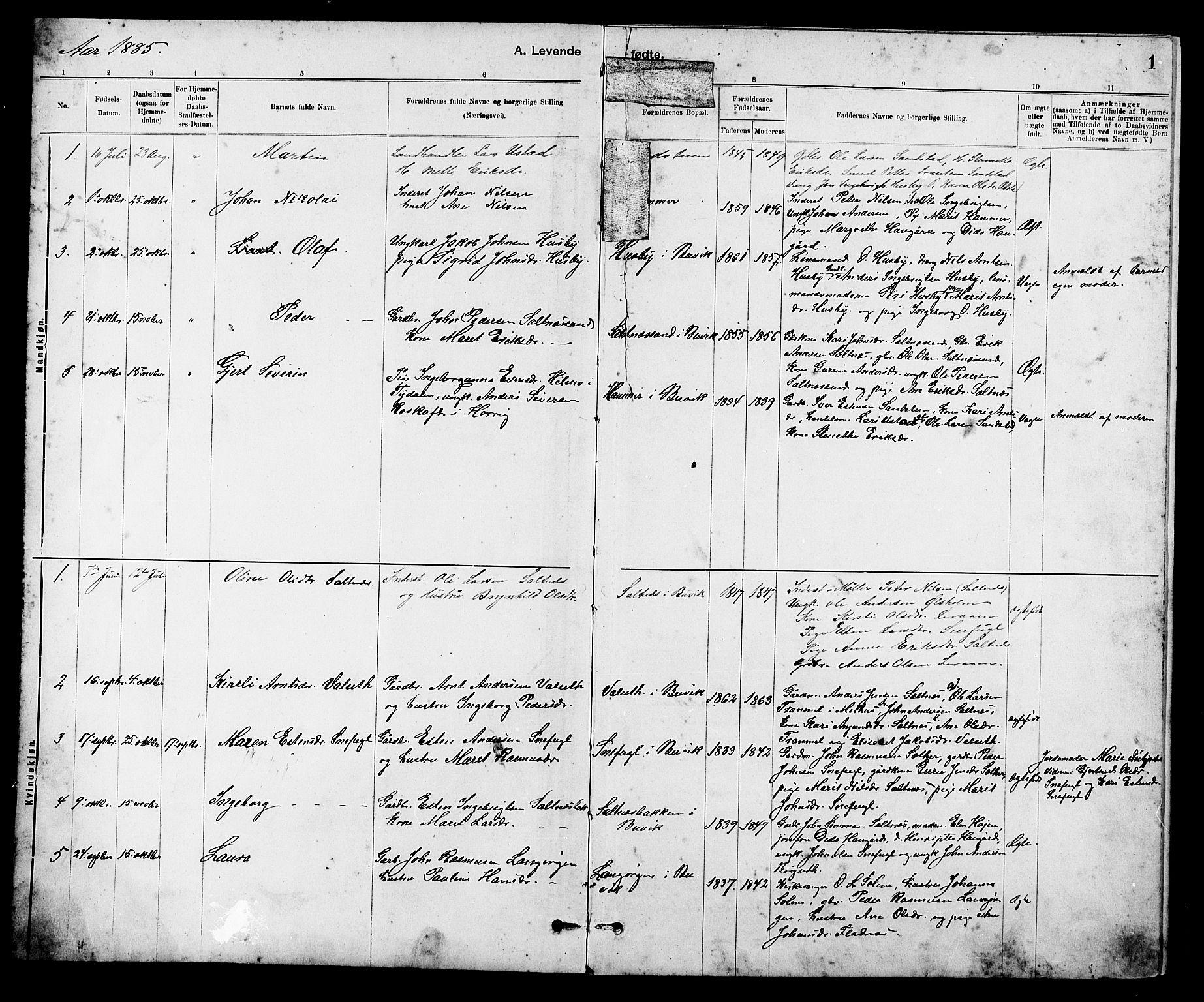 SAT, Ministerialprotokoller, klokkerbøker og fødselsregistre - Sør-Trøndelag, 666/L0790: Klokkerbok nr. 666C03, 1885-1908, s. 1