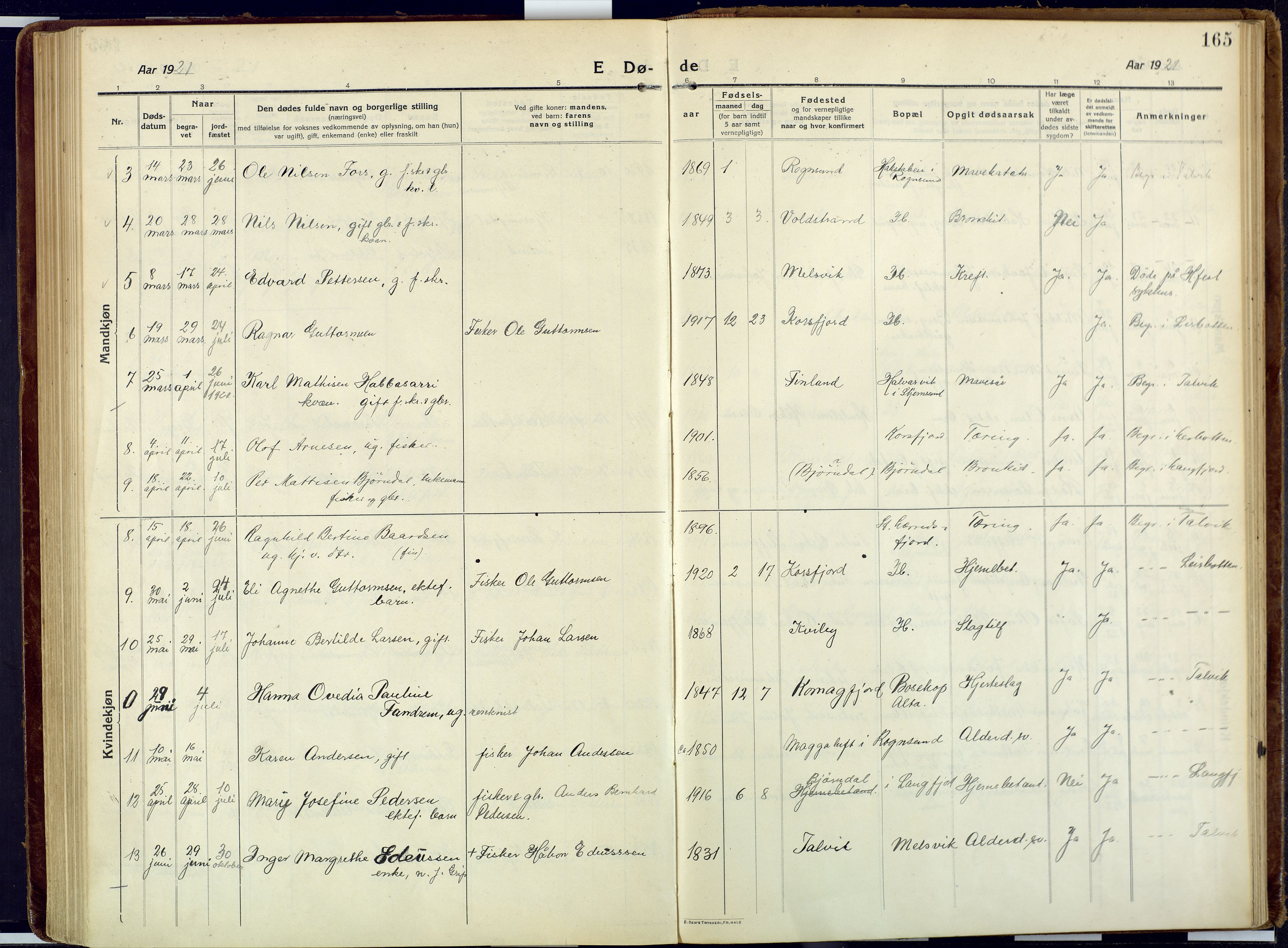 SATØ, Talvik sokneprestkontor, H/Ha/L0018kirke: Ministerialbok nr. 18, 1915-1924, s. 165
