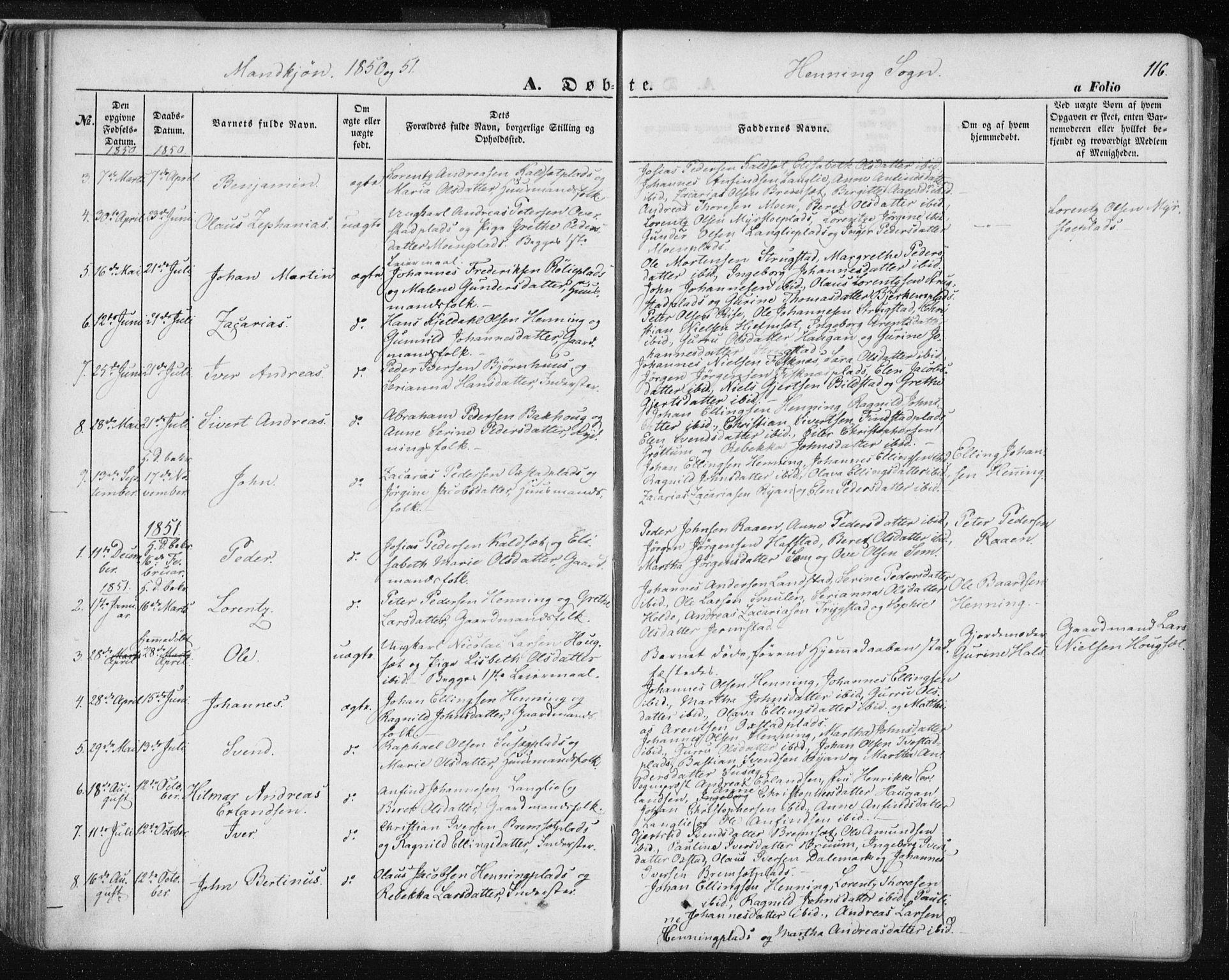 SAT, Ministerialprotokoller, klokkerbøker og fødselsregistre - Nord-Trøndelag, 735/L0342: Ministerialbok nr. 735A07 /3, 1849-1862, s. 116