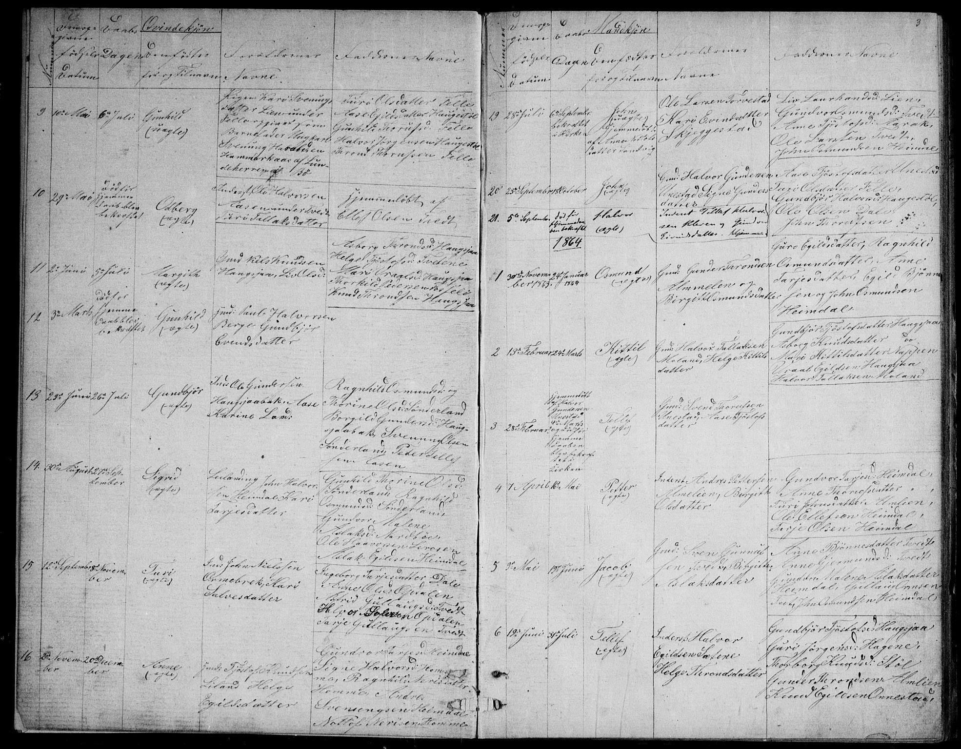 SAKO, Nissedal kirkebøker, G/Gb/L0002: Klokkerbok nr. II 2, 1863-1892, s. 3
