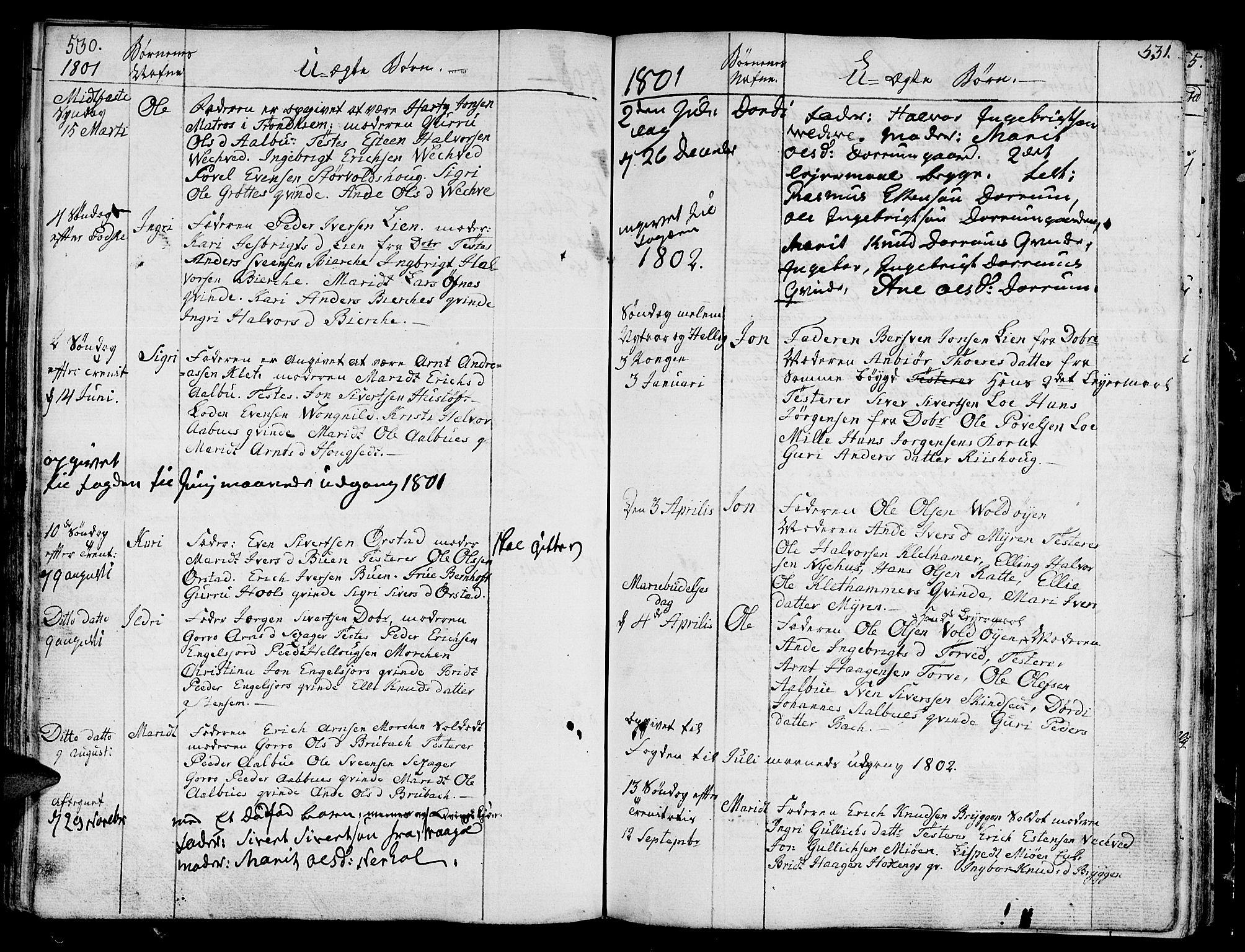 SAT, Ministerialprotokoller, klokkerbøker og fødselsregistre - Sør-Trøndelag, 678/L0893: Ministerialbok nr. 678A03, 1792-1805, s. 530-531
