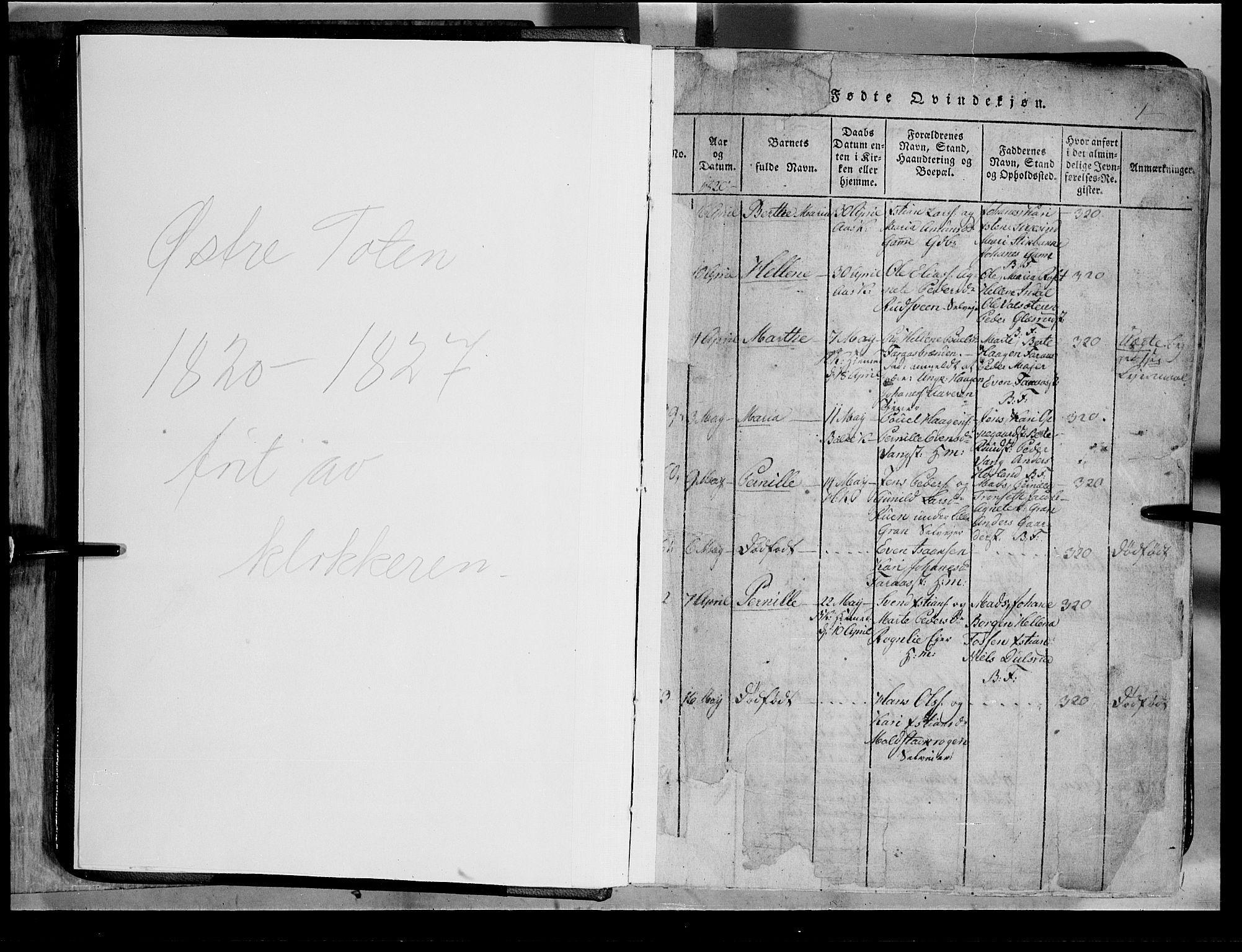 SAH, Toten prestekontor, Klokkerbok nr. 2, 1820-1827, s. 1