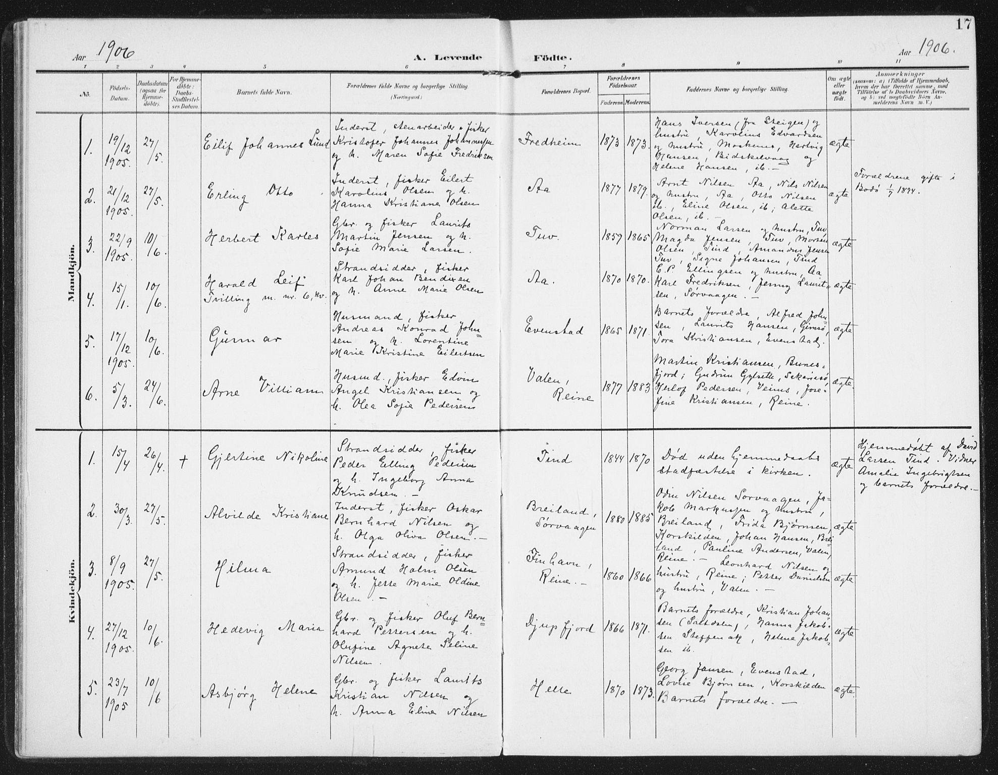 SAT, Ministerialprotokoller, klokkerbøker og fødselsregistre - Nordland, 886/L1221: Ministerialbok nr. 886A03, 1903-1913, s. 17